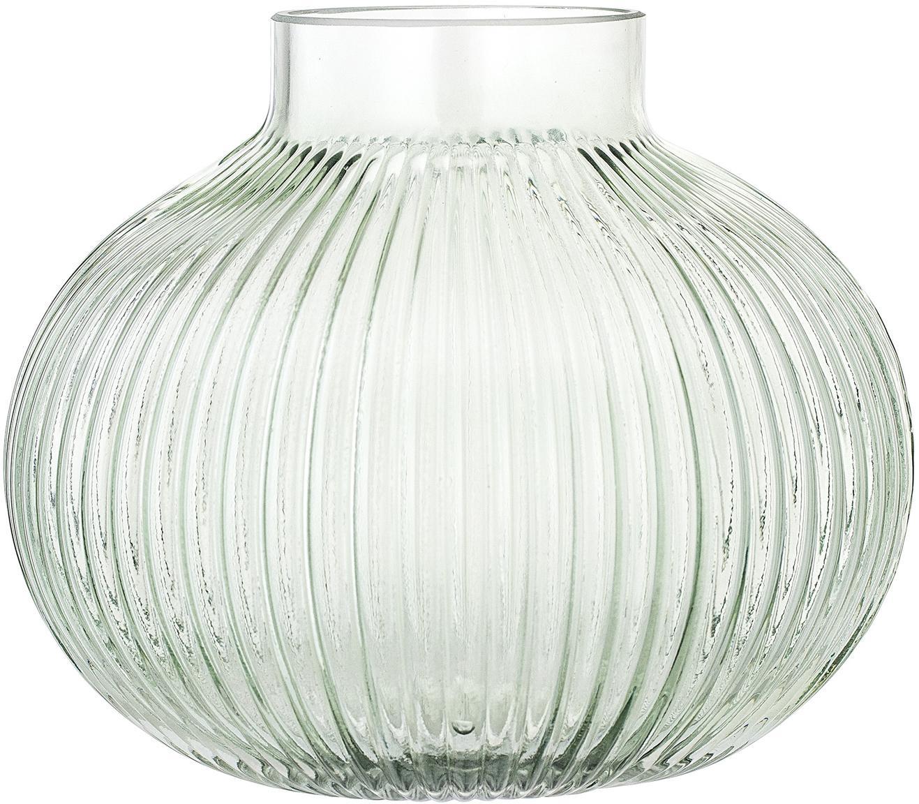 Jarrón pequeño Gola, Vidrio, Verde claro transparente, Ø 16 x Al 15 cm