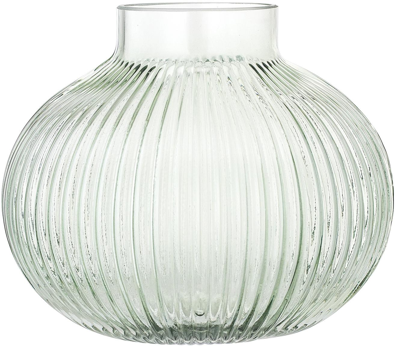 Kleine vaas Gola, Glas, Lichtgroen, transparant, Ø 16 x H 15 cm