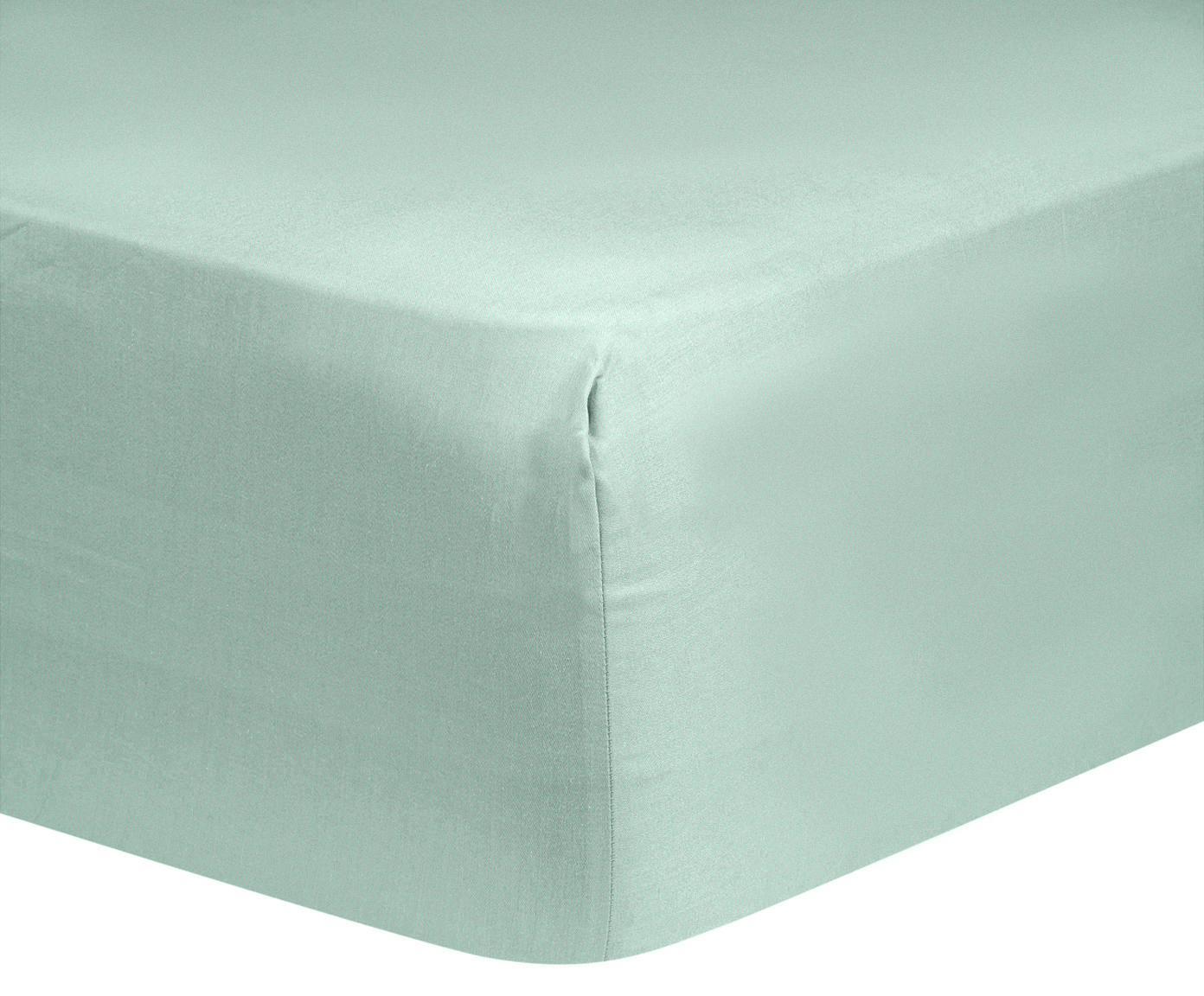 Lenzuolo con angoli in raso di cotone Comfort, Verde salvia, Larg. 180 x Lung. 200 cm