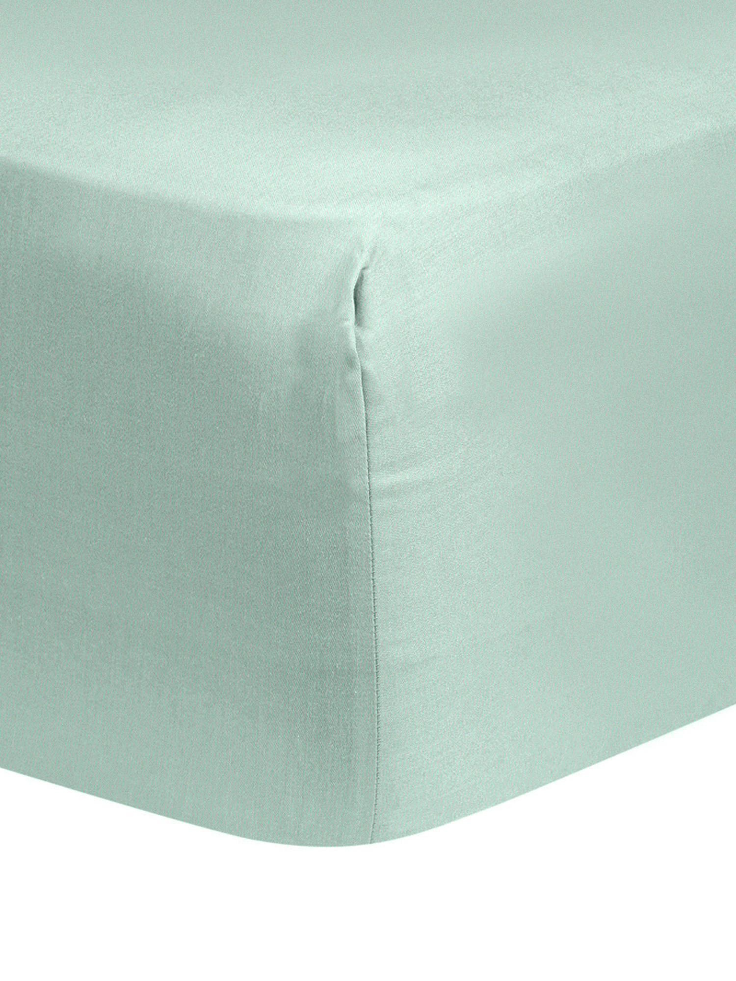 Katoensatijnen hoeslaken Comfort, Weeftechniek: satijn, licht glanzend, Saliegroen, 90 x 200 cm
