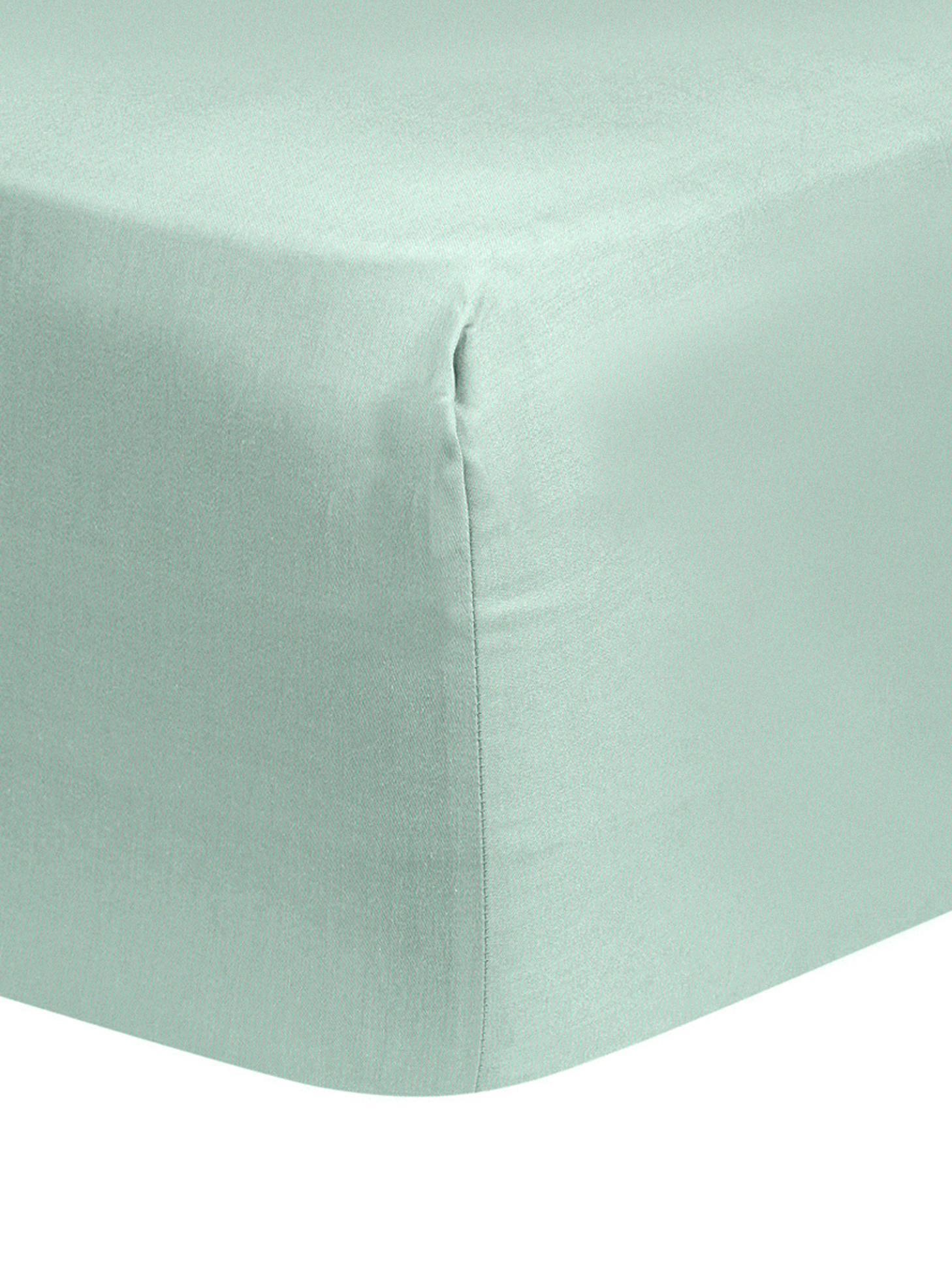 Lenzuolo con angoli in raso di cotone Comfort, Verde salvia, Singolo
