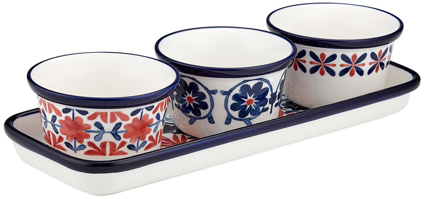 Komplet do serwowania Fiesta, 4 elem., New Bone China, Czerwony, odcienie niebieskiego, biały, Ø 10 x W 6 cm