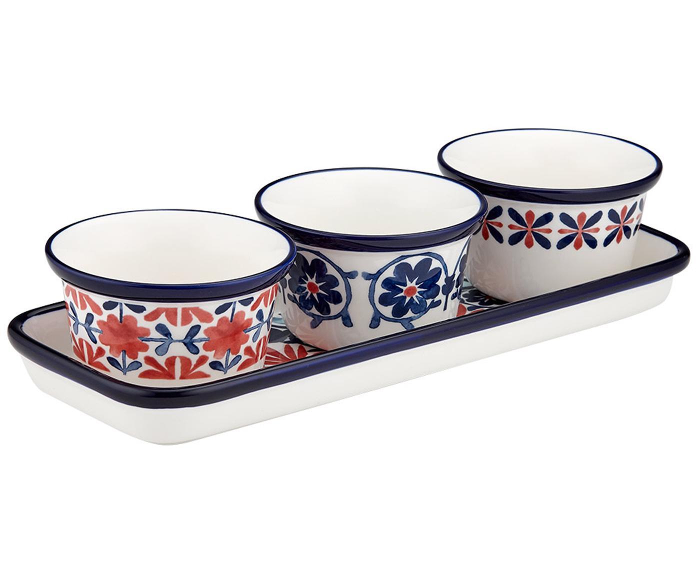 Serveerset Fiesta, 4-delig, New Bone China, Rood, blauwtinten, wit, Ø 10 x H 6 cm
