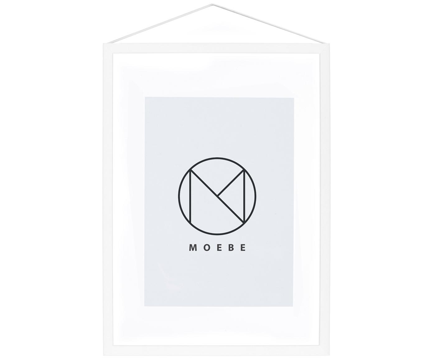 Fotolijstje Frame, Frame: gepoedercoat aluminium, Frame: wit. Ophanging: zwart. Front en achterkant: transparant, 23 x 31 cm