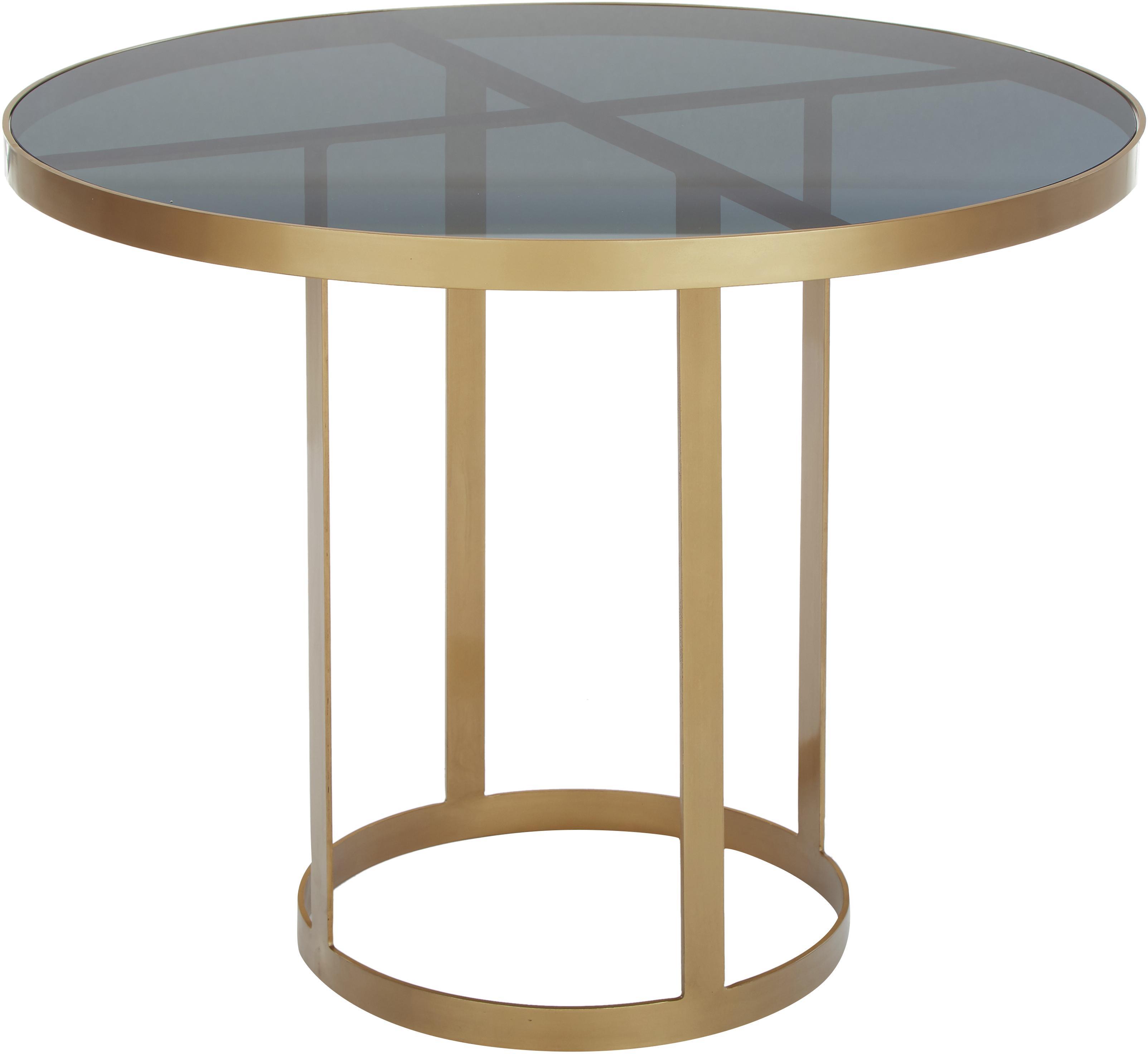 Tavolo rotondo in vetro Marika, Struttura: metallo verniciato, Piano d'appoggio: vetro colorato, Dorato, trasparente, Ø 100 x Alt. 76 cm