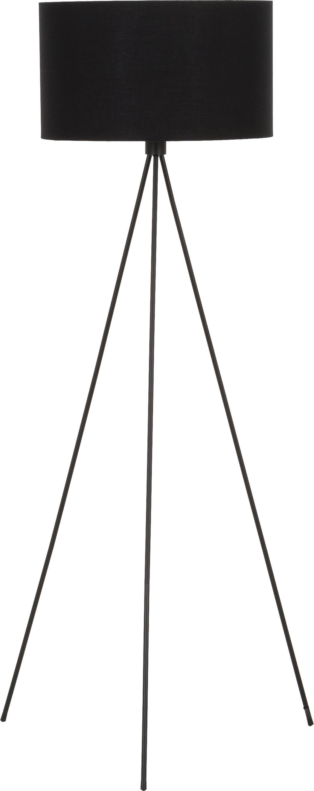 Lampada da terra Cella, Paralume: miscela di cotone, Base della lampada: metallo verniciato a polv, Nero, Ø 48 x Alt. 158 cm