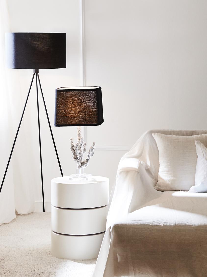 Vloerlamp Cella, Lampenkap: katoenmix, Lampvoet: gepoedercoat metaal, Zwart, Ø 48 x H 158 cm