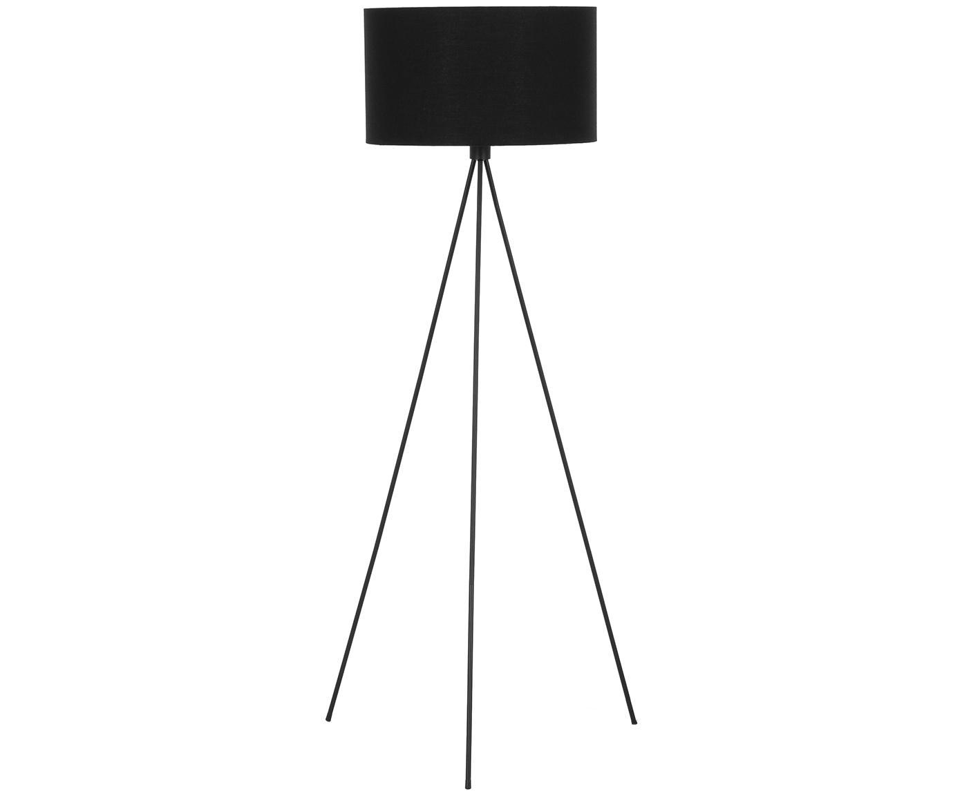 Stehlampe Cella, Lampenschirm: Baumwollgemisch, Lampenfuß: Metall, pulverbeschichtet, Schwarz, ∅ 48 x H 158 cm
