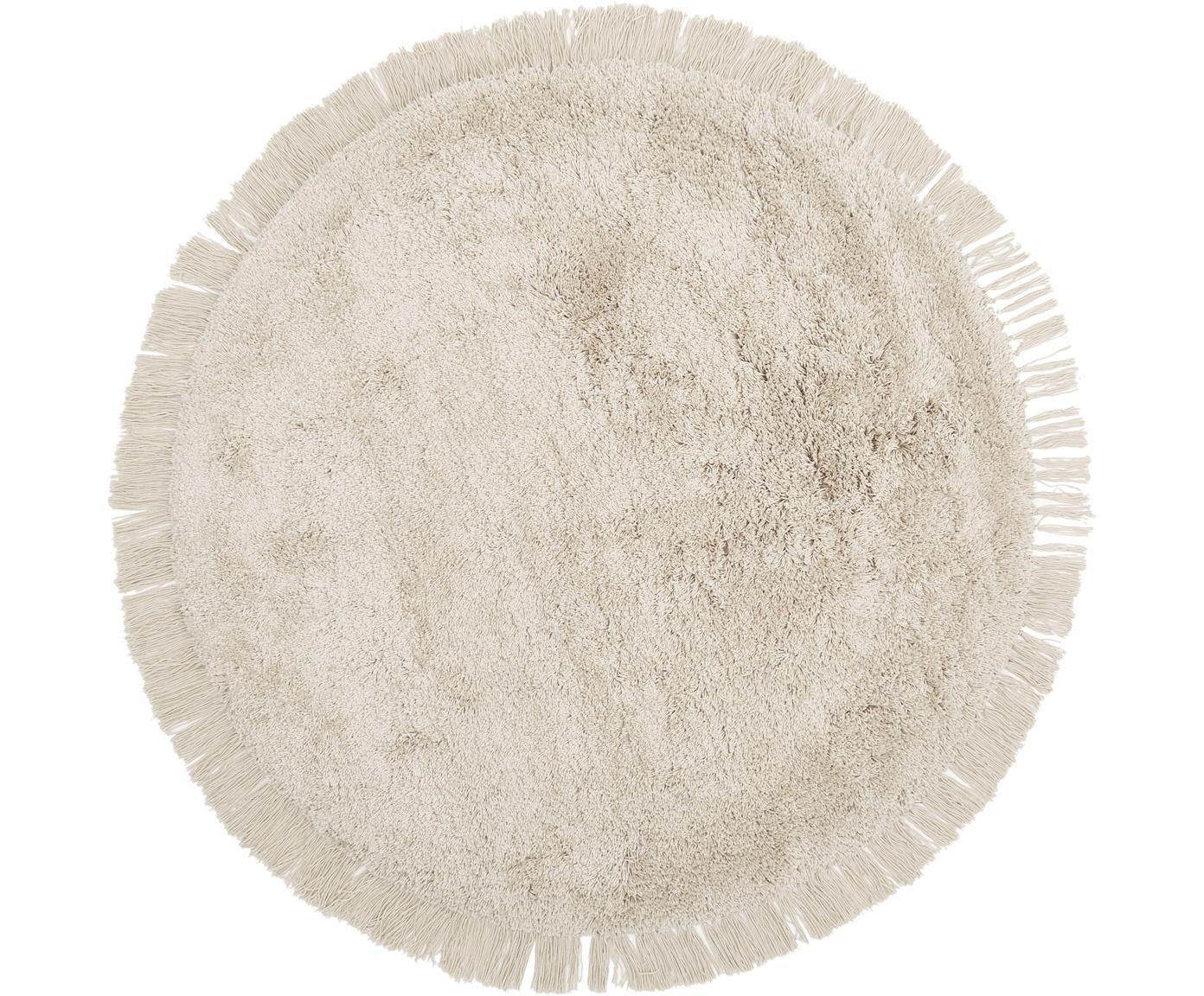 Flauschiger Hochflor-Teppich Dreamy mit Fransen, Flor: 100% Polyester, Creme, Ø 140 cm (Größe M)