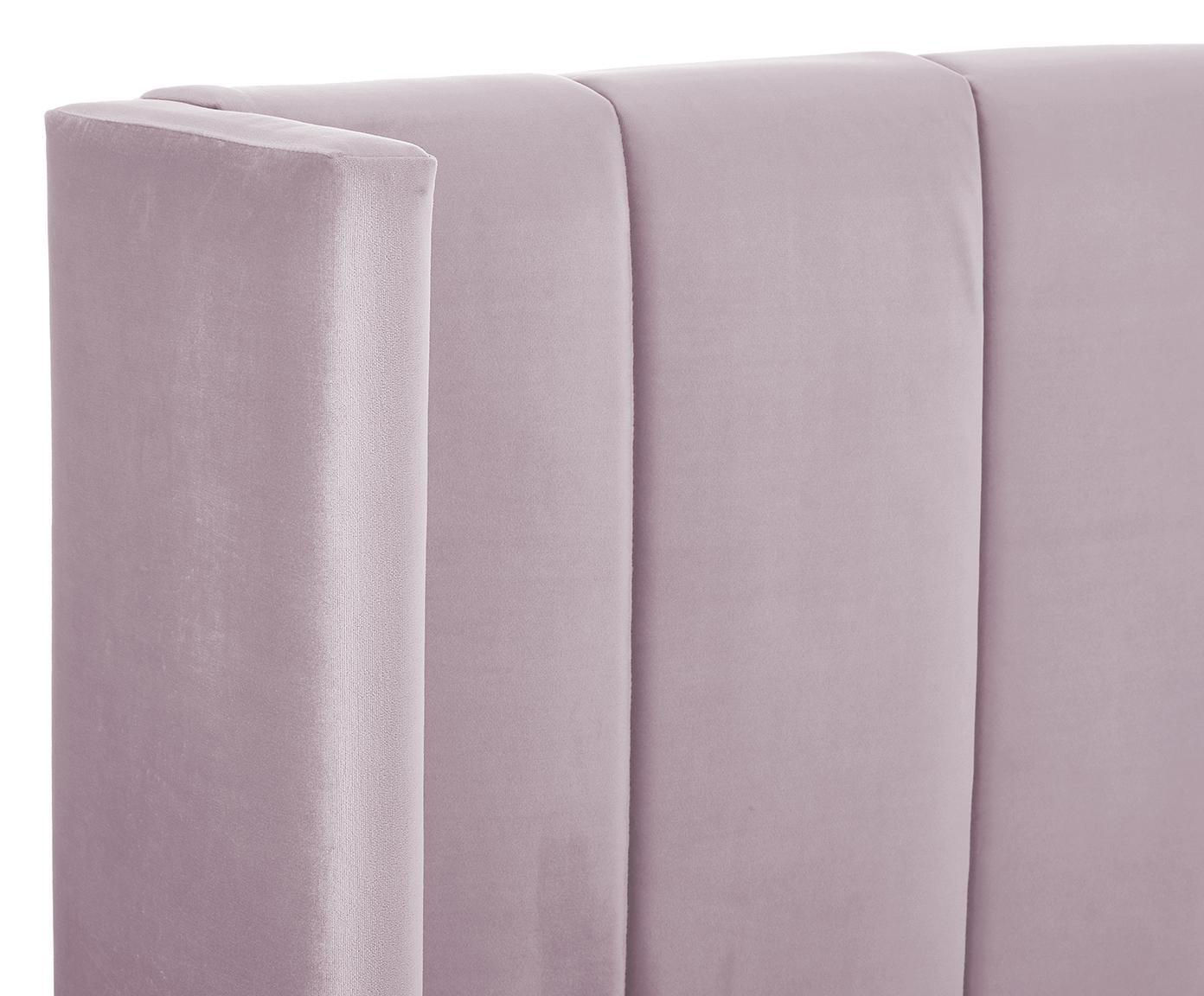 Cama de terciopelo Dusk, Estructura: madera de pino macizo, Patas: metal, con pintura en pol, Tapizado: terciopelo de poliéster 3, Malva, 180 x 200 cm