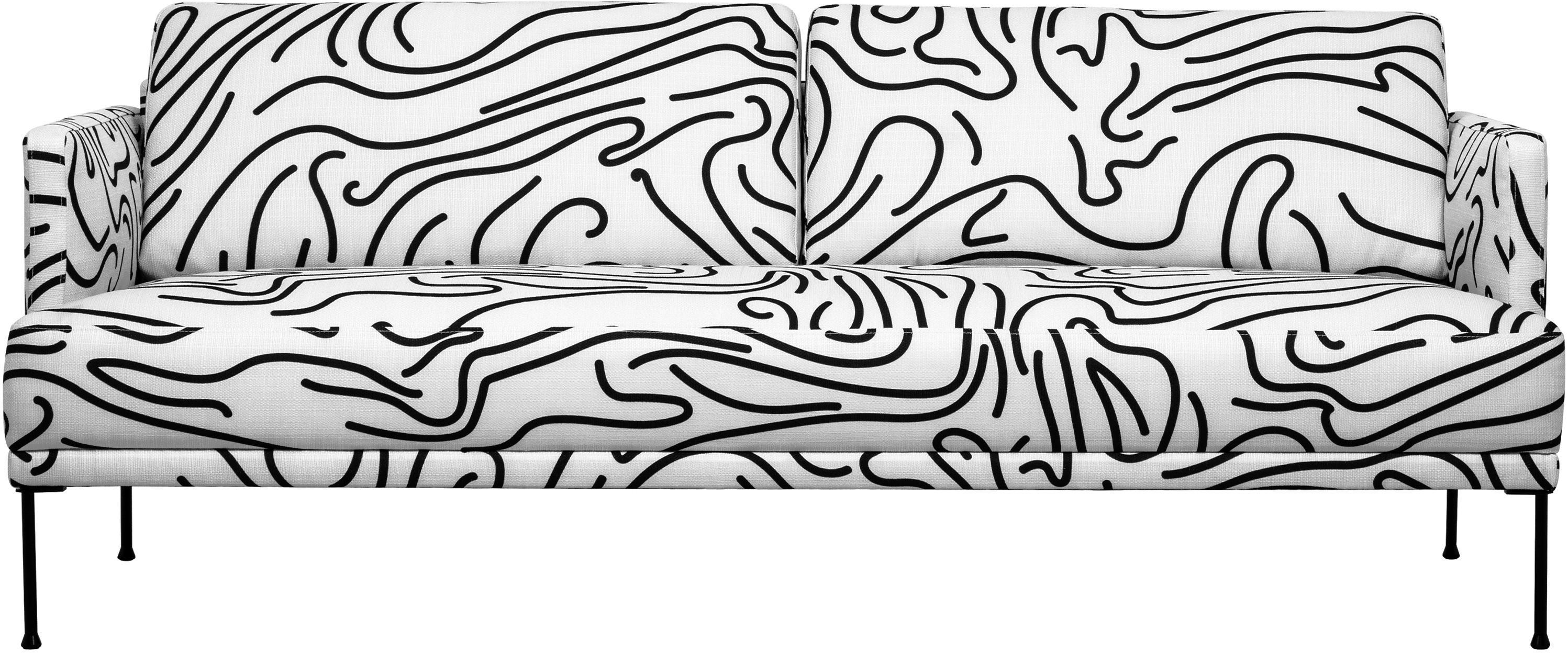 Bank Fluente (3-zits), Bekleding: 100% polyester, Frame: massief grenenhout, Poten: gepoedercoat metaal, Geweven stof wit, B 196 x D 85 cm