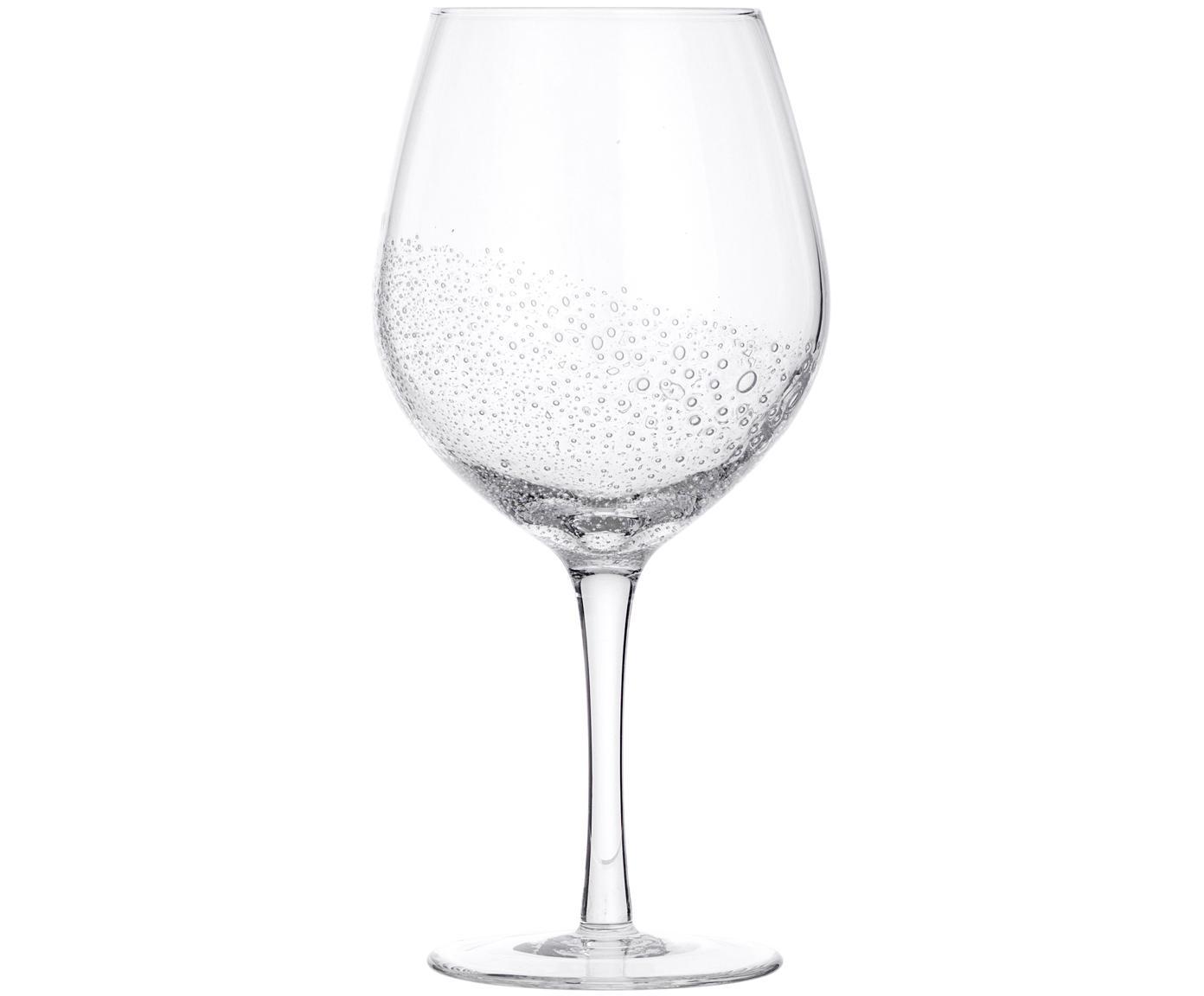 Copas de vino tinto de vidrio soplado Bubble, 4uds., Vidrio soplado artesanalmente, Transparente con burbujas de aire, Ø 10 x Al 22 cm