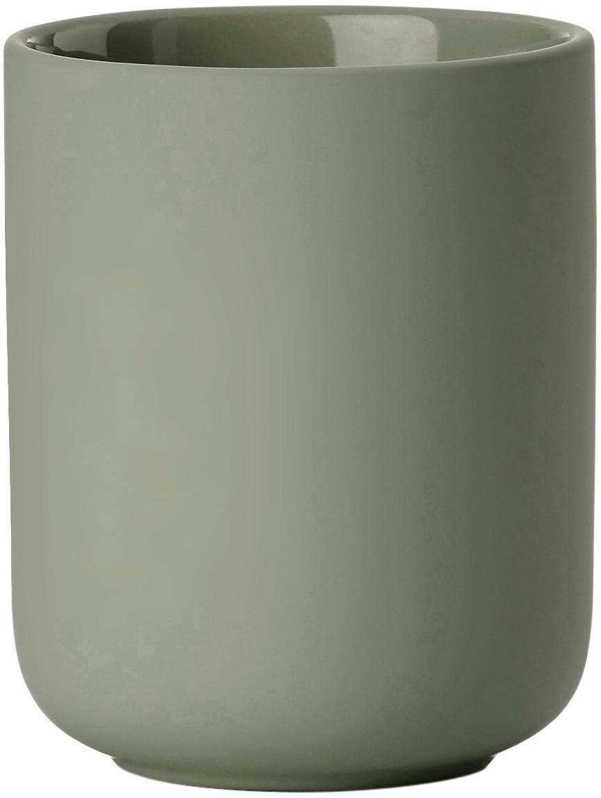 Kubek na szczoteczki z kamionki Omega, Eukaliptusowy zielony, Ø 8 x W 10 cm