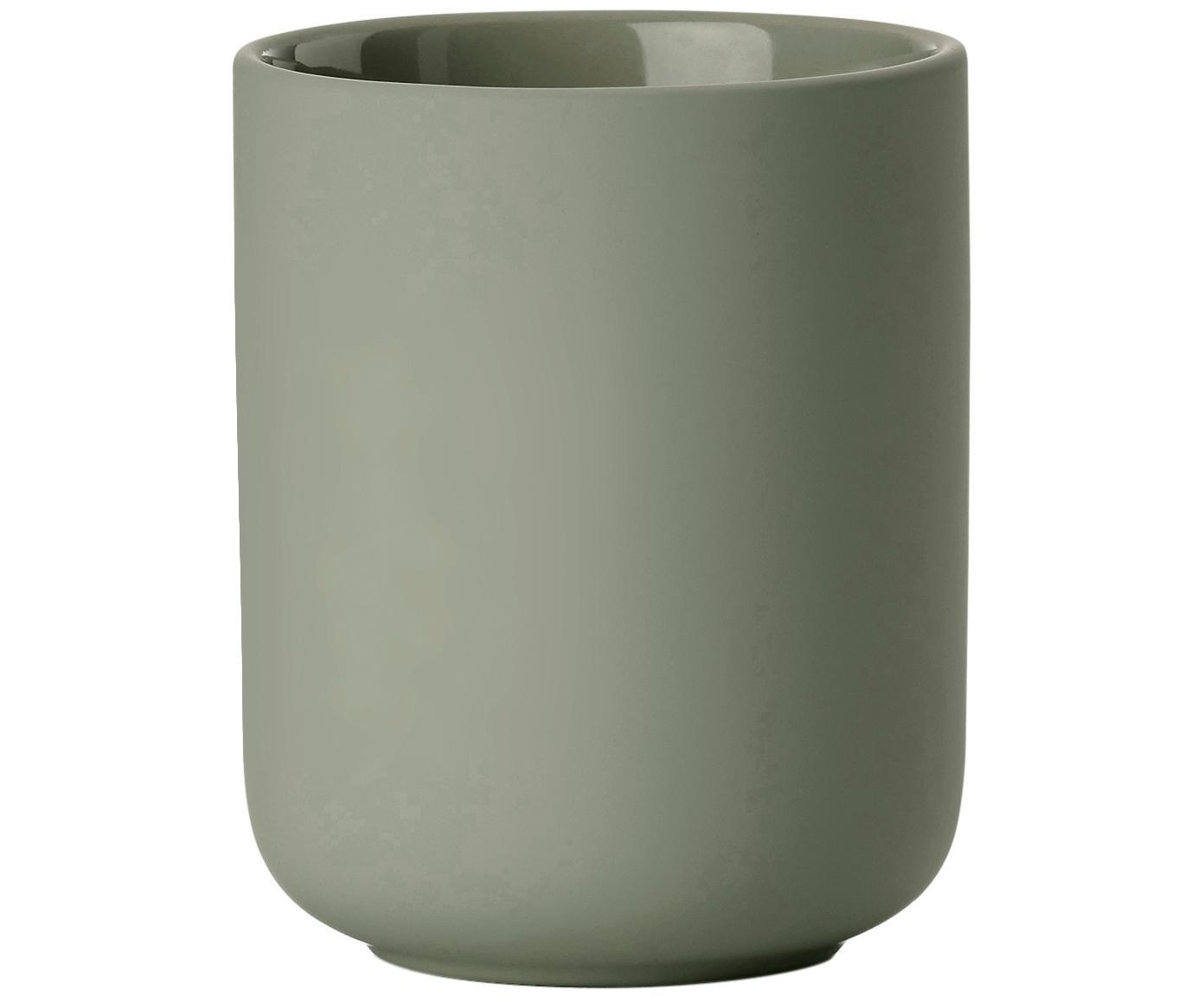 Zahnputzbecher Ume aus Steingut, Steingut überzogen mit Soft-touch-Oberfläche (Kunststoff), Eukalyptusgrün, Ø 8 x H 10 cm