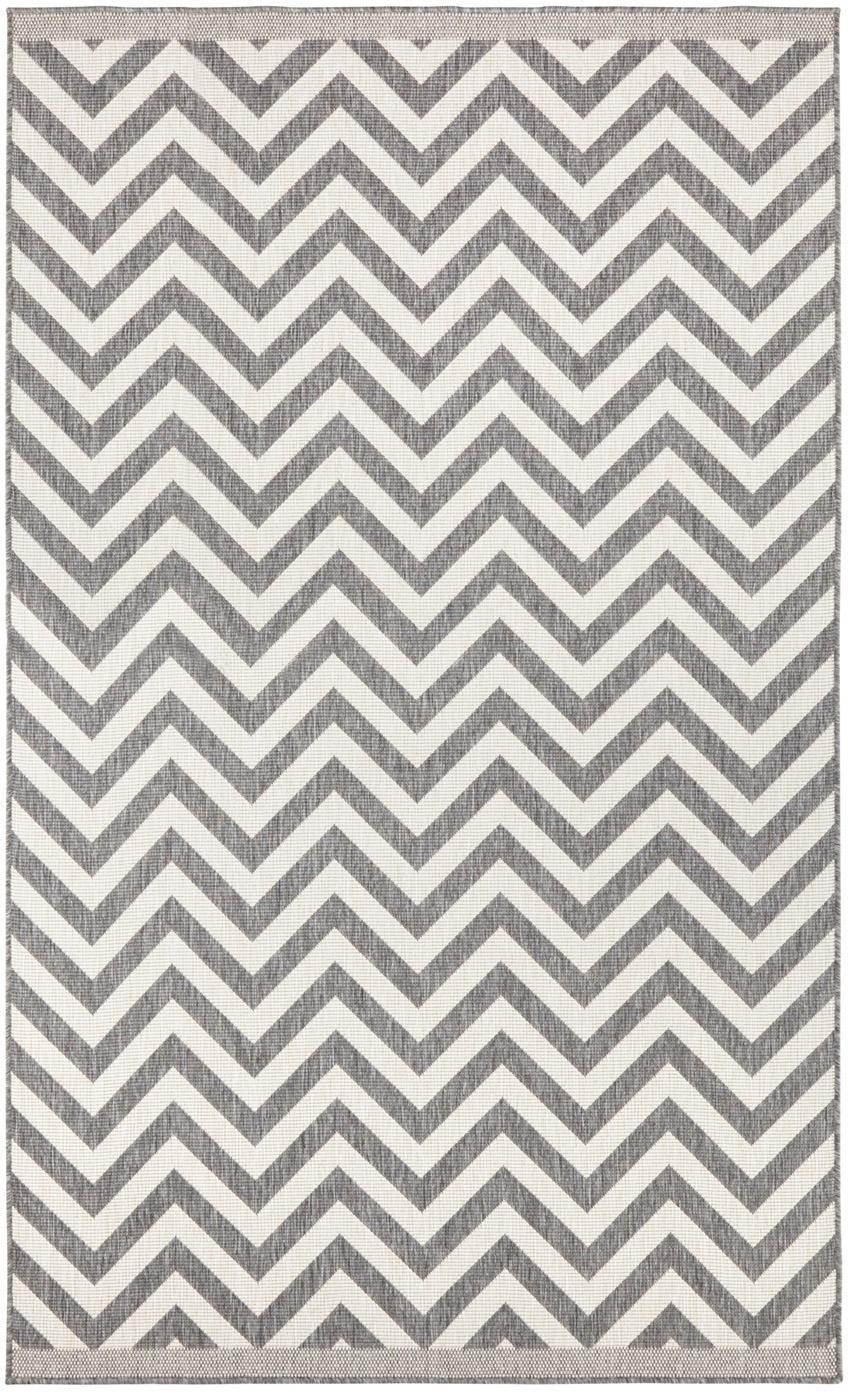 Dubbelzijdig in- & outdoor vloerkleed Palma, met zigzag patroon, Grijs, crèmekleurig, B 80 x L 150 cm (maat XS)