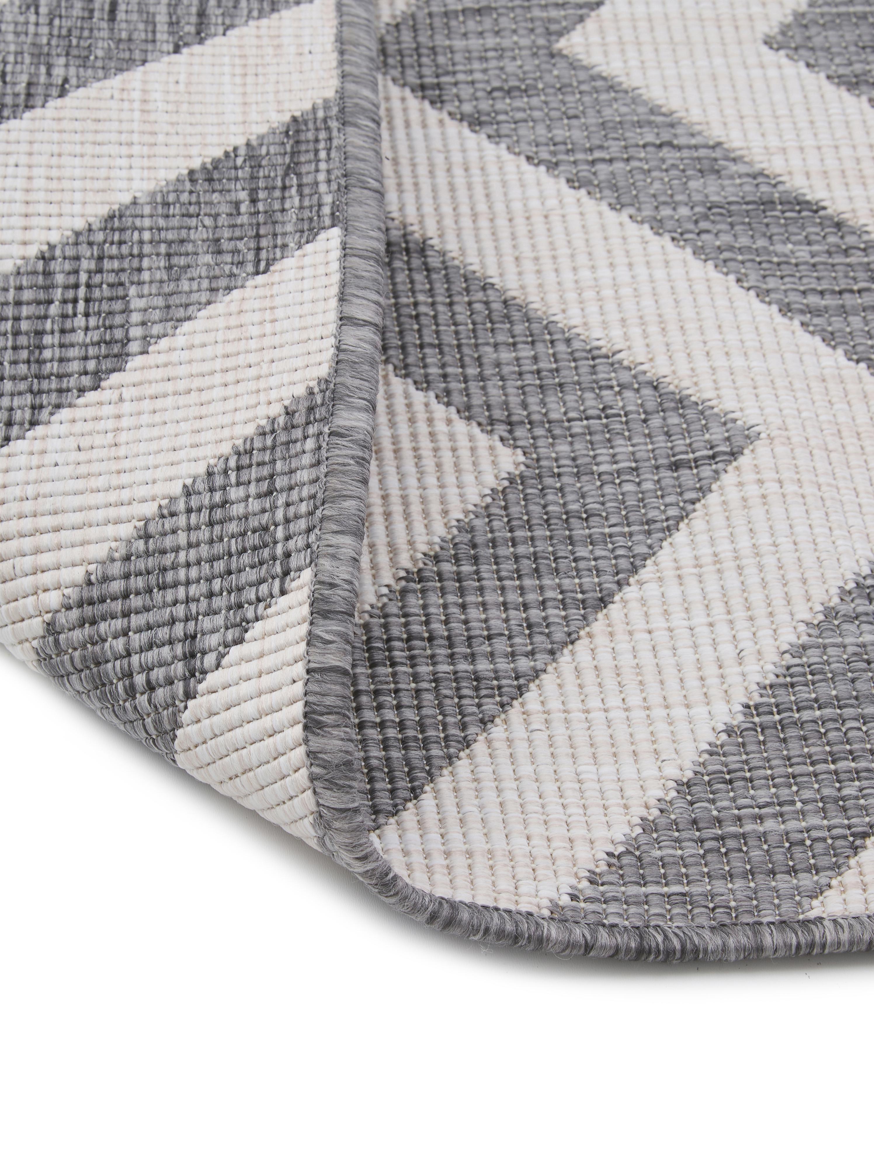 Tappeto reversibile da interno-esterno Palma, Grigio, crema, Larg. 200 x Lung. 290 cm (taglia L)