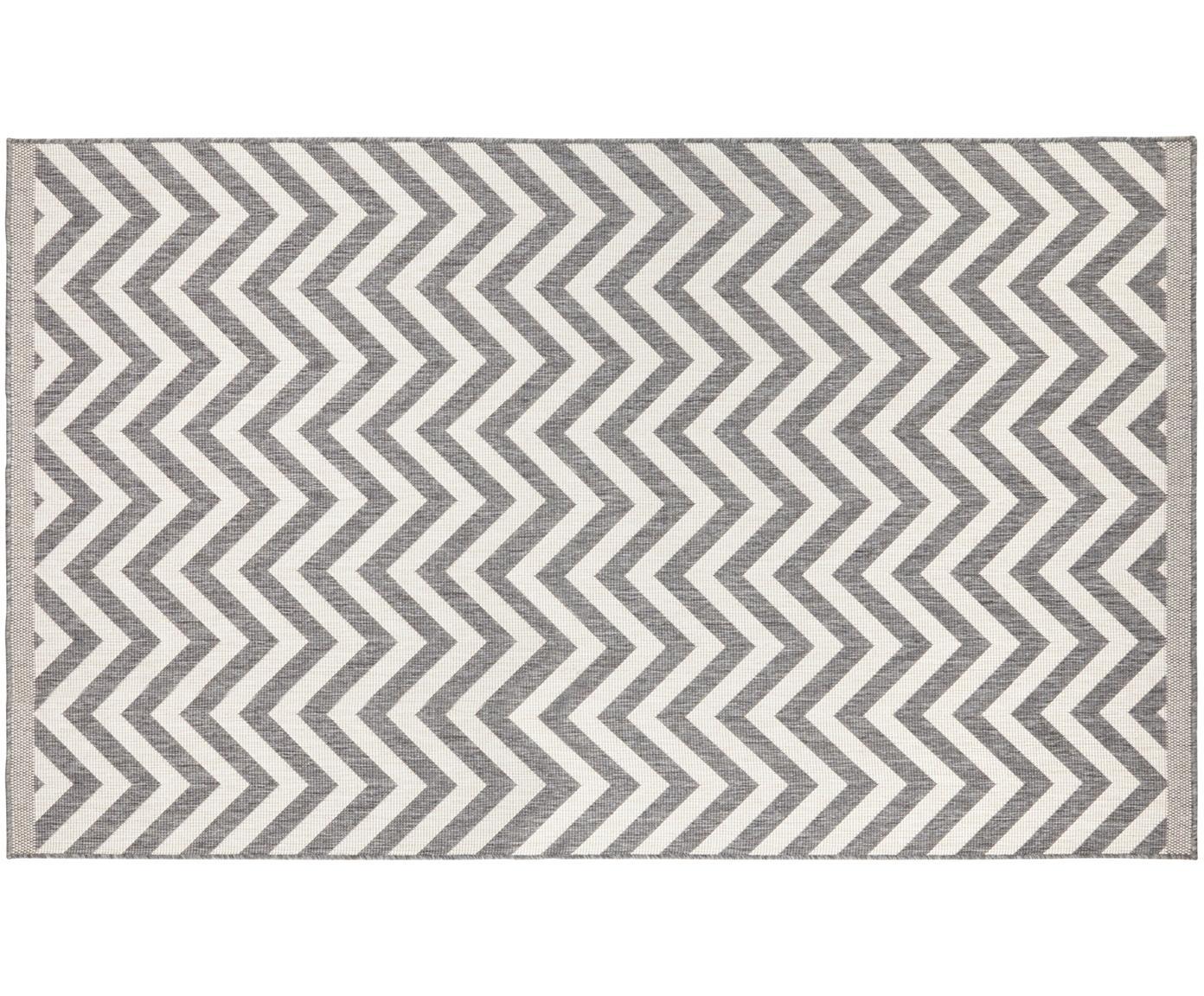 Vnitřní a venkovní koberec s klikatým vzorem Palma, oboustranný, Šedá, krémová