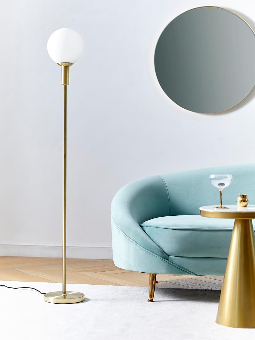 Stehlampe Minna, Messing, Lampenfuß: Metall, vermessingt, Lampenschirm: Opalglas, Messing, Ø 22 x H 144 cm
