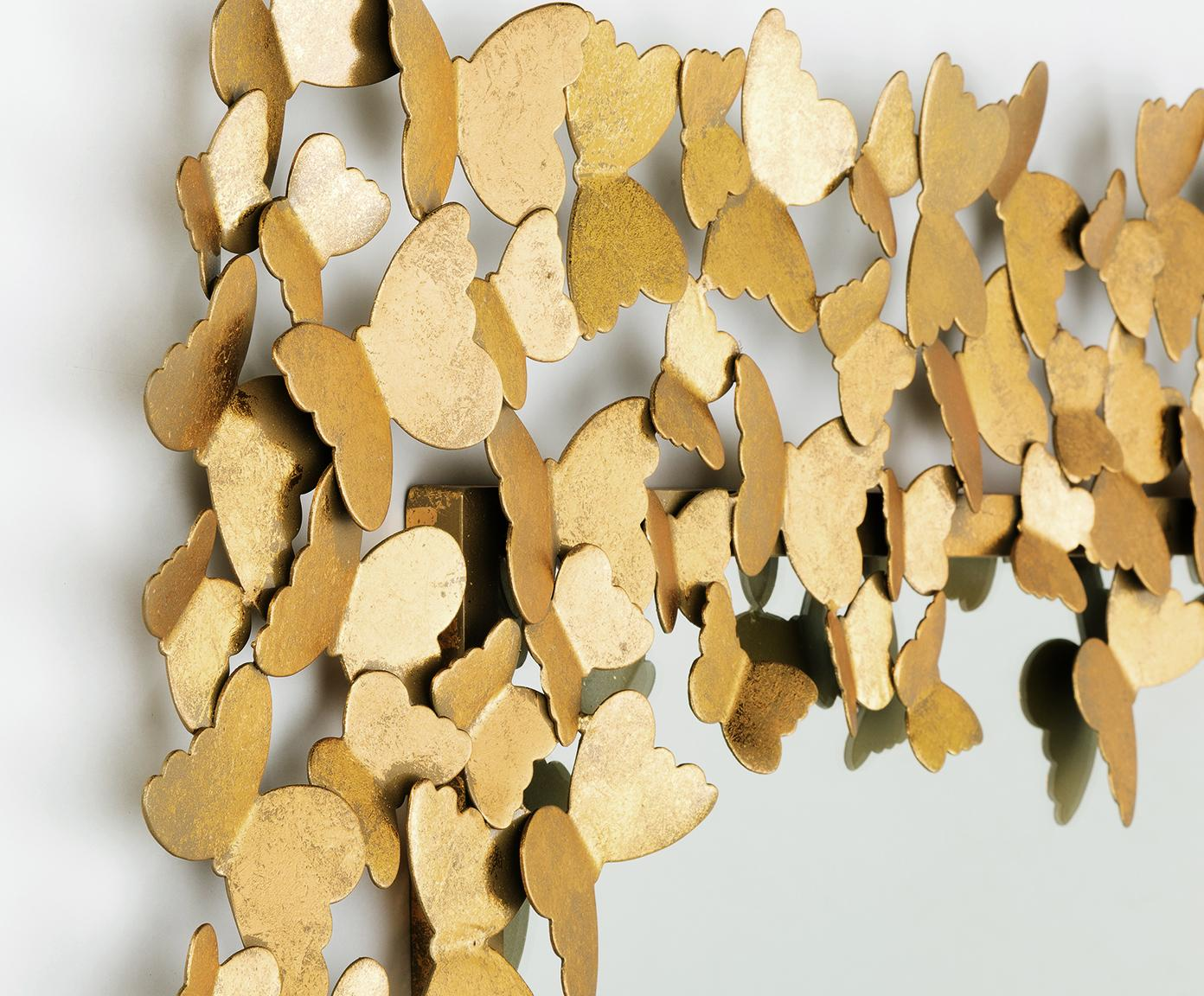 Lustro ścienne Butterfly, Odcienie złotego, S 70 x W 90 cm