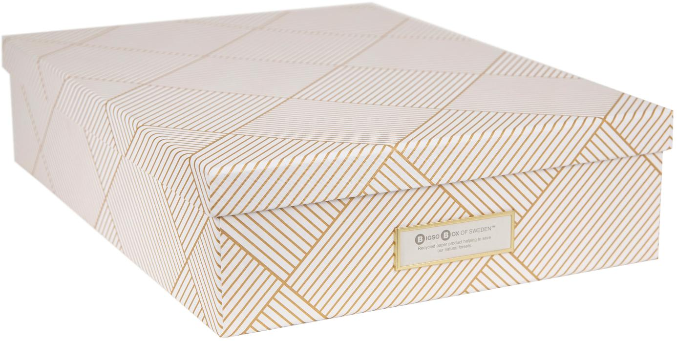 Caja Oskar, Caja: cartón macizo laminado, Dorado, blanco, An 26 x Al 9 cm