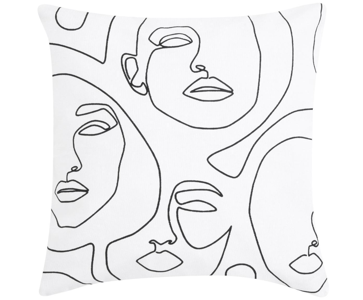 Kissenhülle Aria mit abstrakter One Line Zeichnung, Webart: Panama, Weiß, Schwarz, 40 x 40 cm