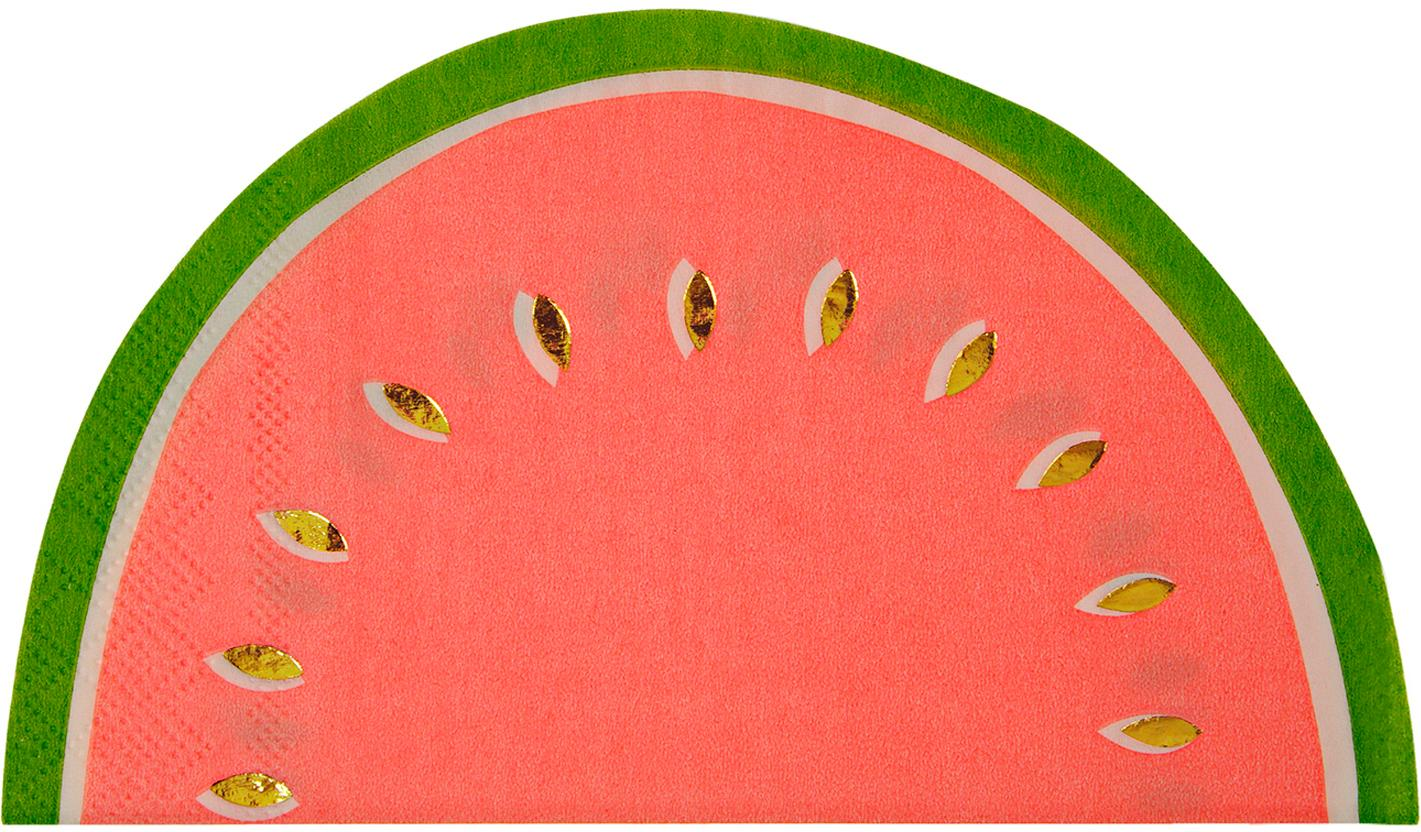 Papieren servetten Watermelon, 16 stuks, Papier, Rood, groen, goudkleurig, 20 x 17 cm