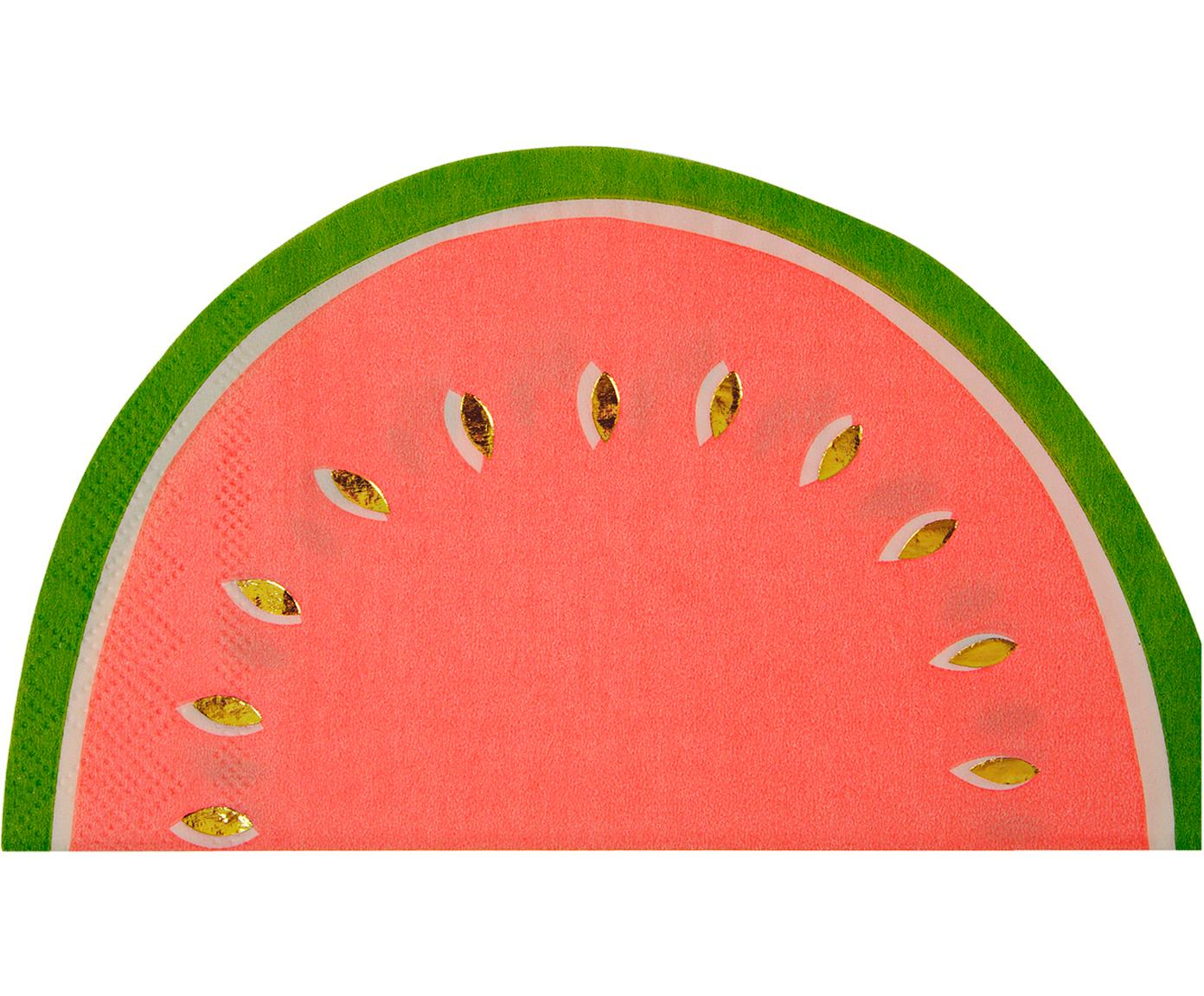 Papier-Servietten Watermelon, 16 Stück, Papier, Rot, Grün, Goldfarben, 20 x 17 cm