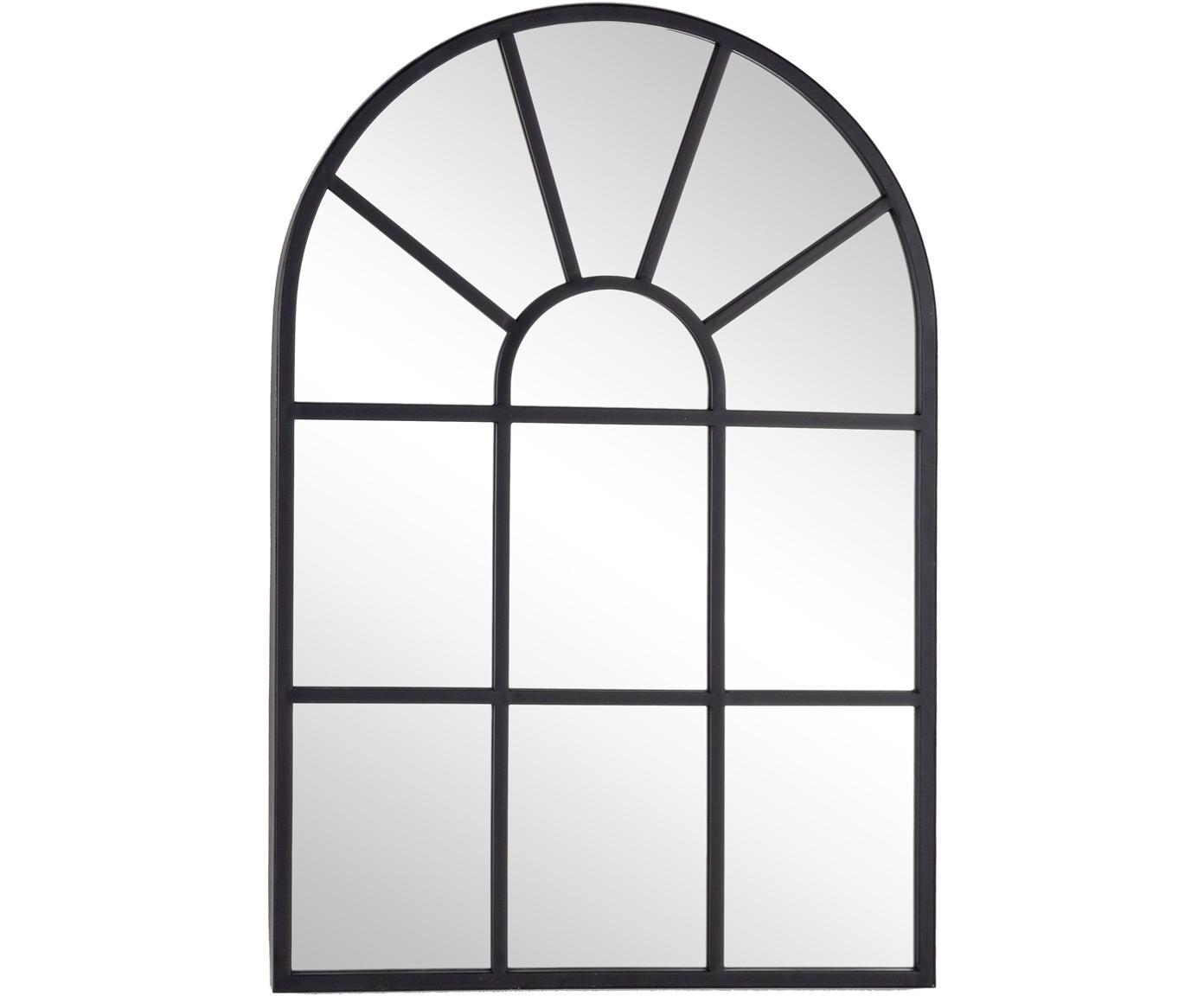 Specchio da parete in metallo nero Reflix, Cornice: metallo rivestito, Superficie dello specchio: lastra di vetro, Nero, Larg. 58 x Alt. 87 cm
