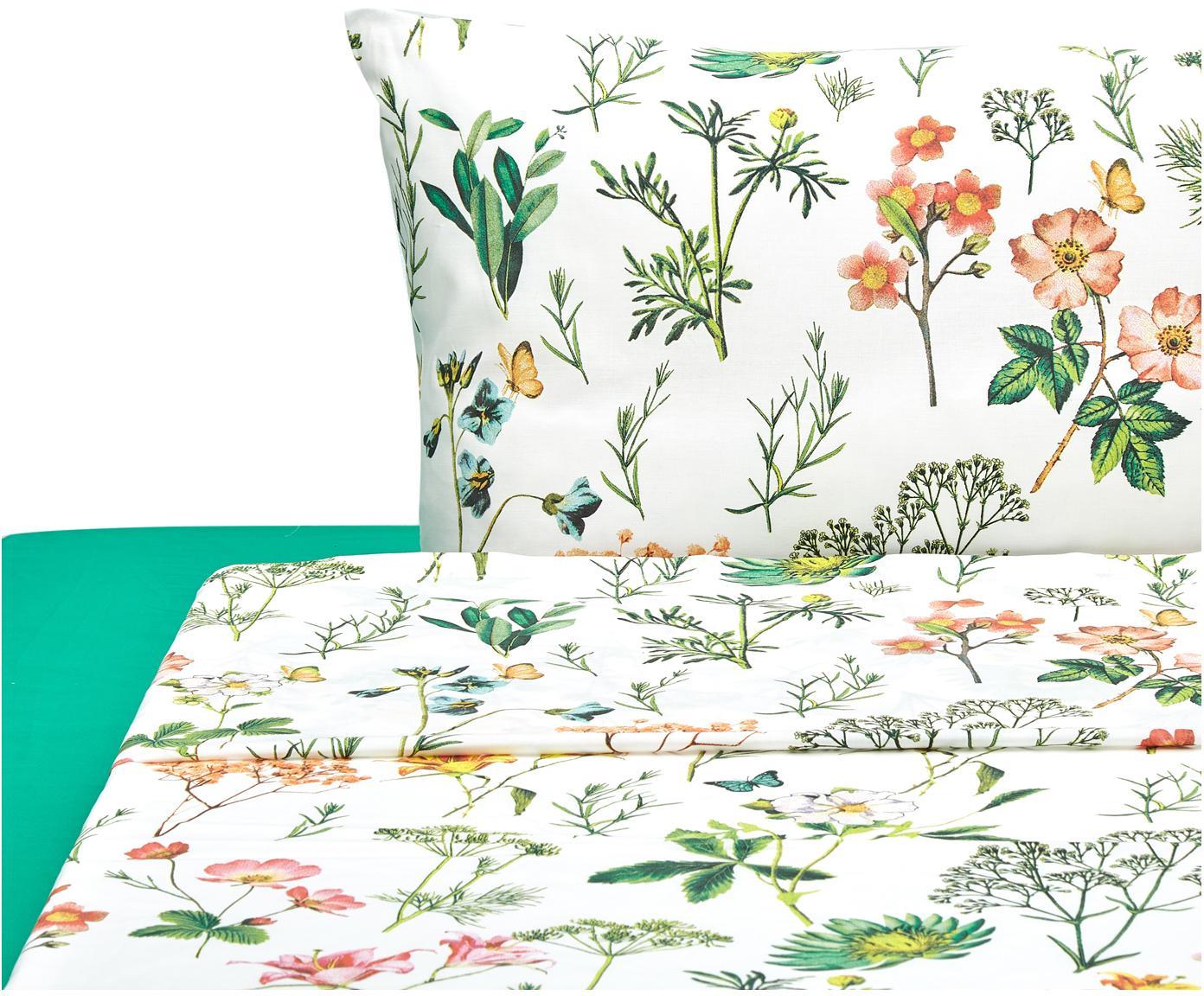 Completo letto Botanico, Cotone, Bianco, verde, multicolore, 195 x 280 cm