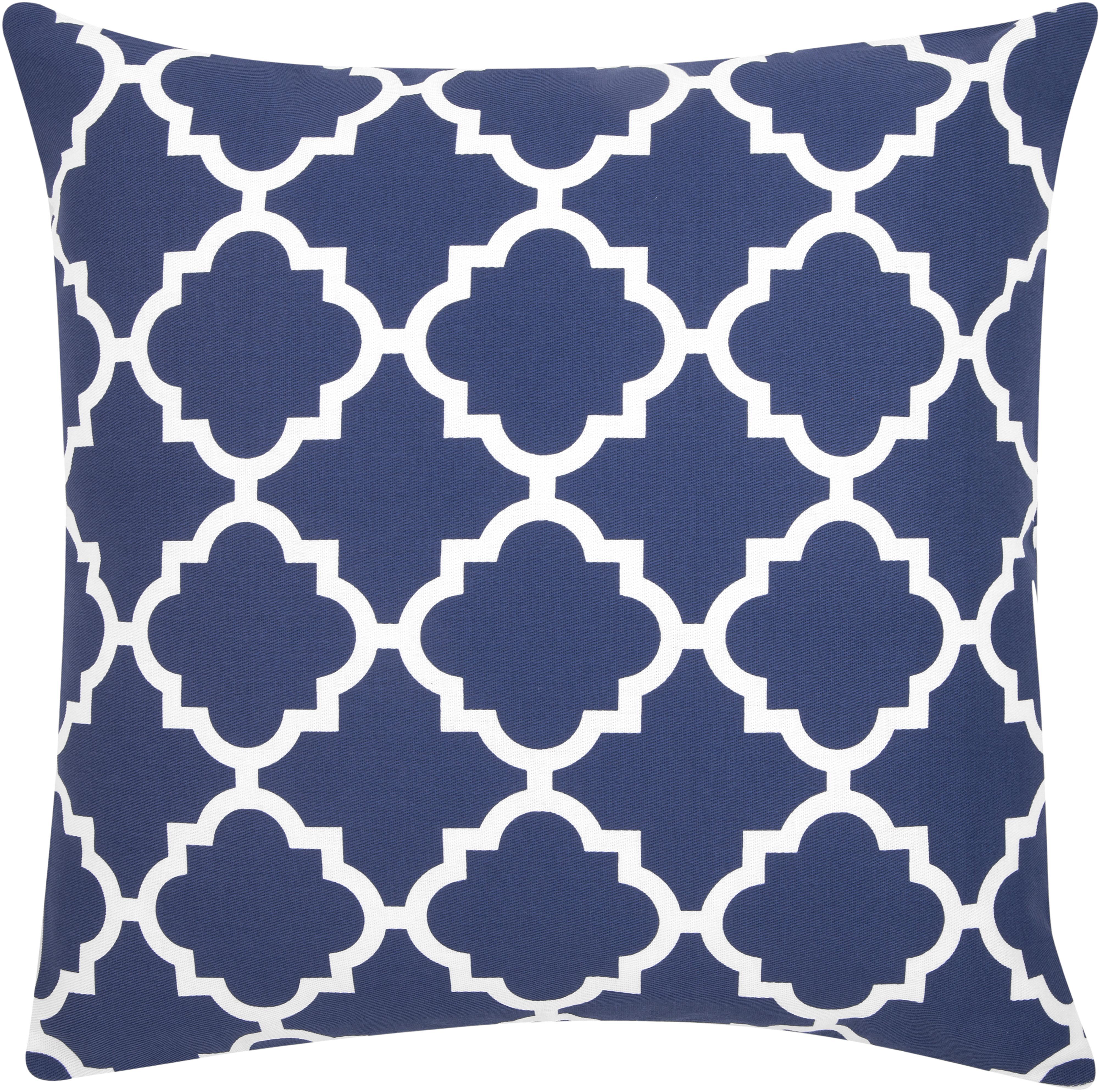 Federa arredo con motivi grafici Lana, Cotone, Blu marino, bianco, Larg. 45 x Lung. 45 cm