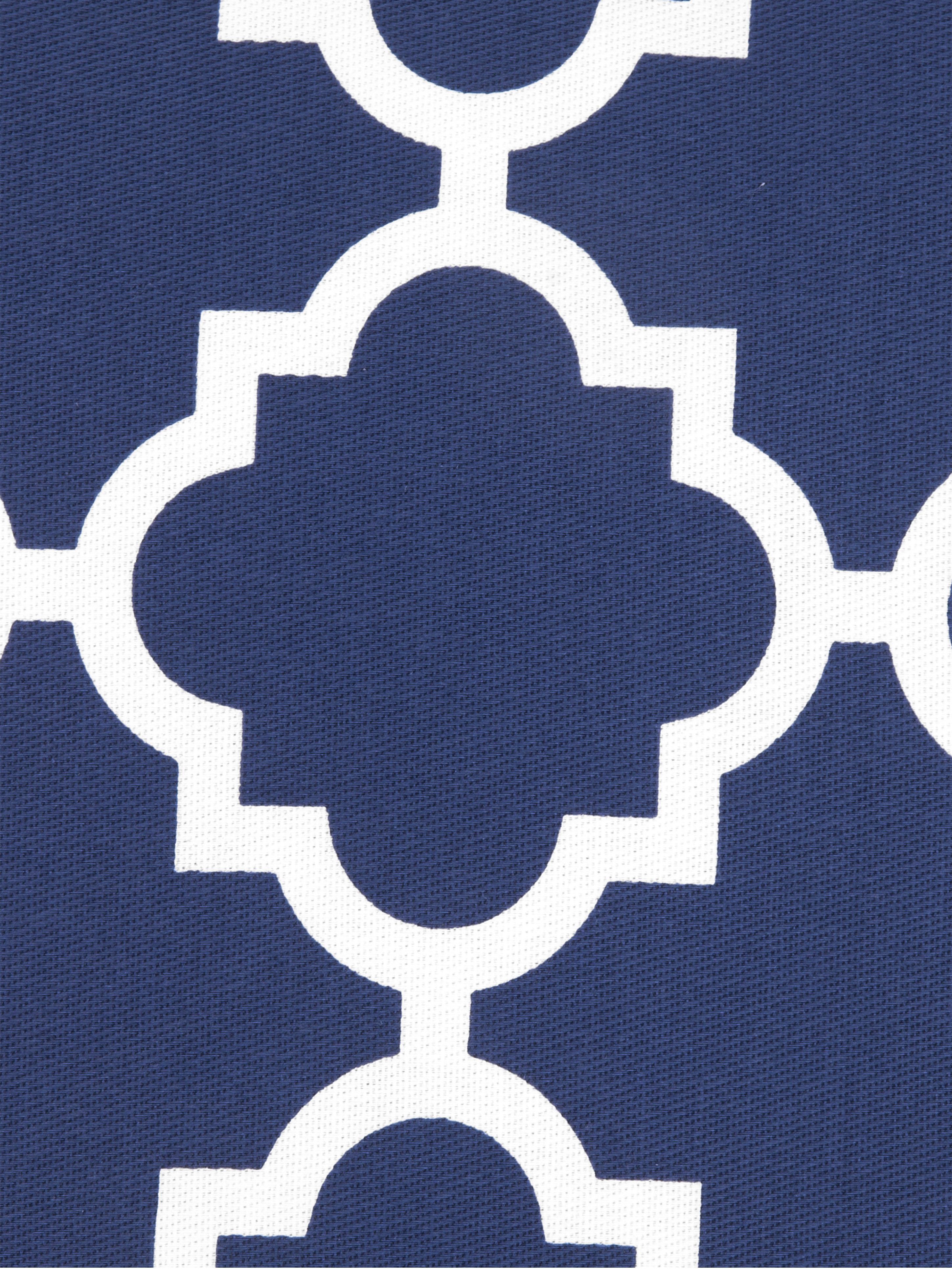 Kissenhülle Lana mit grafischem Muster, 100% Baumwolle, Marineblau, Weiss, 45 x 45 cm
