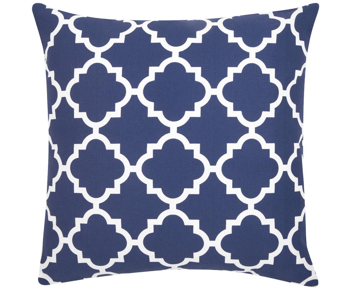 Kissenhülle Lana mit grafischem Muster, 100% Baumwolle, Marineblau, Weiß, 45 x 45 cm