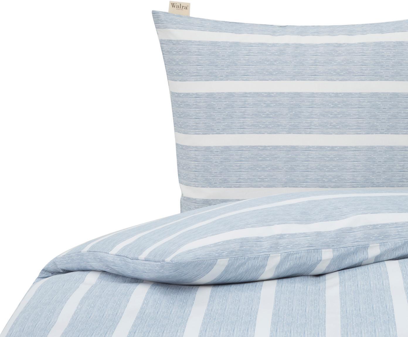 Pościel Stripe Along, Bawełna, Niebieski, biały, 135 x 200 cm