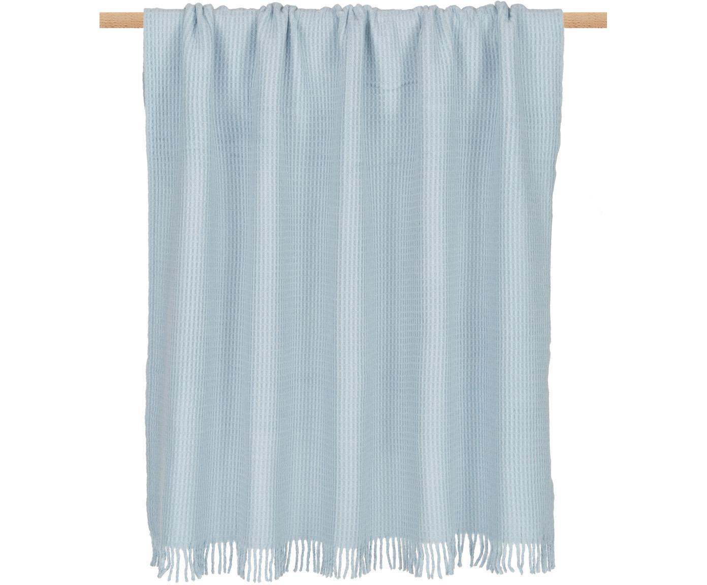 Pled z piki Sara, 50% bawełna, 50% akryl, Jasny niebieski, S 140 x D 180 cm