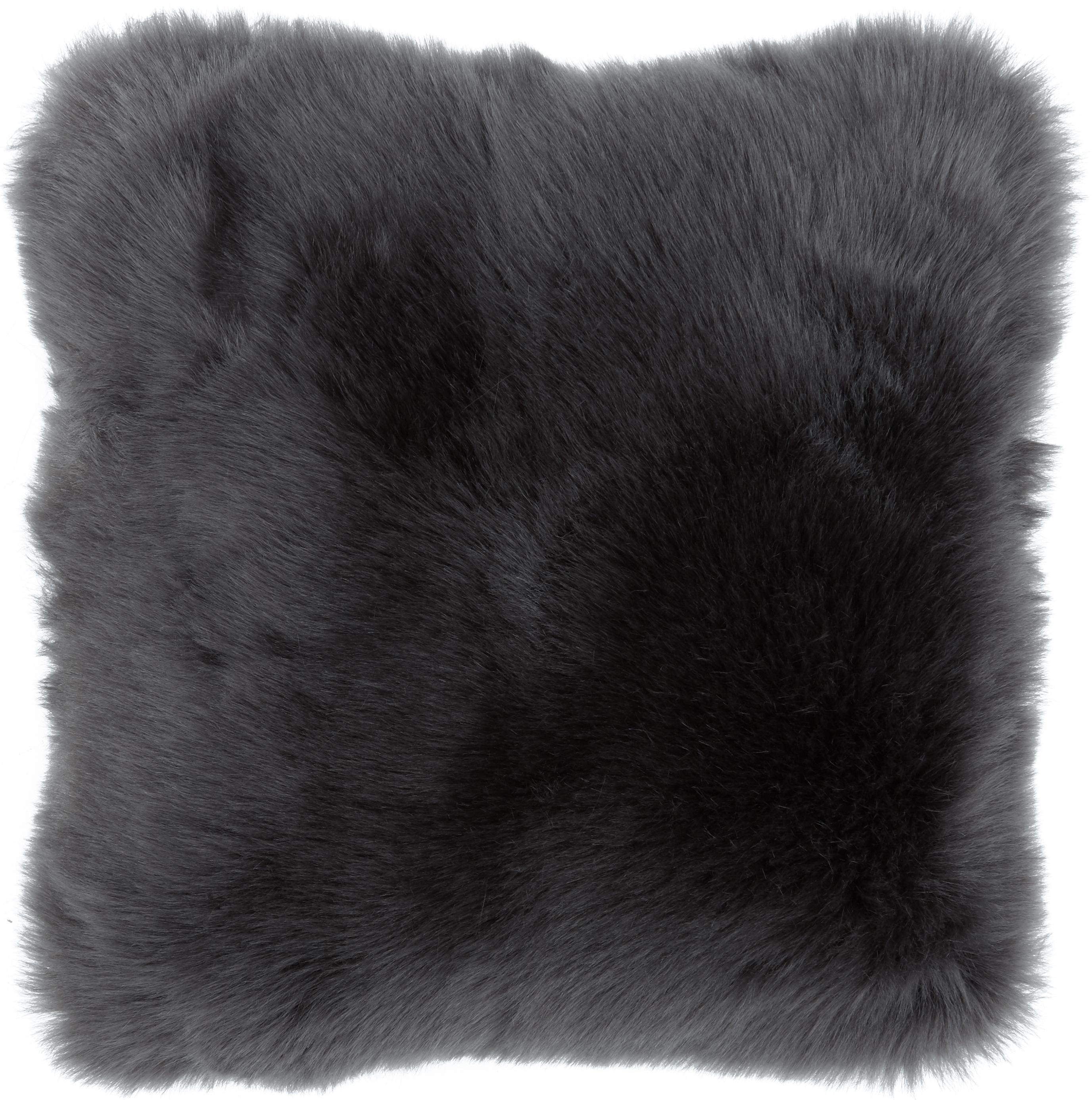 Flauschige Kunstfell-Kissenhülle Morten, gelockt, Vorderseite: 67% Acryl, 33% Polyester, Rückseite: 100% Polyester, Dunkelgrau, 40 x 40 cm