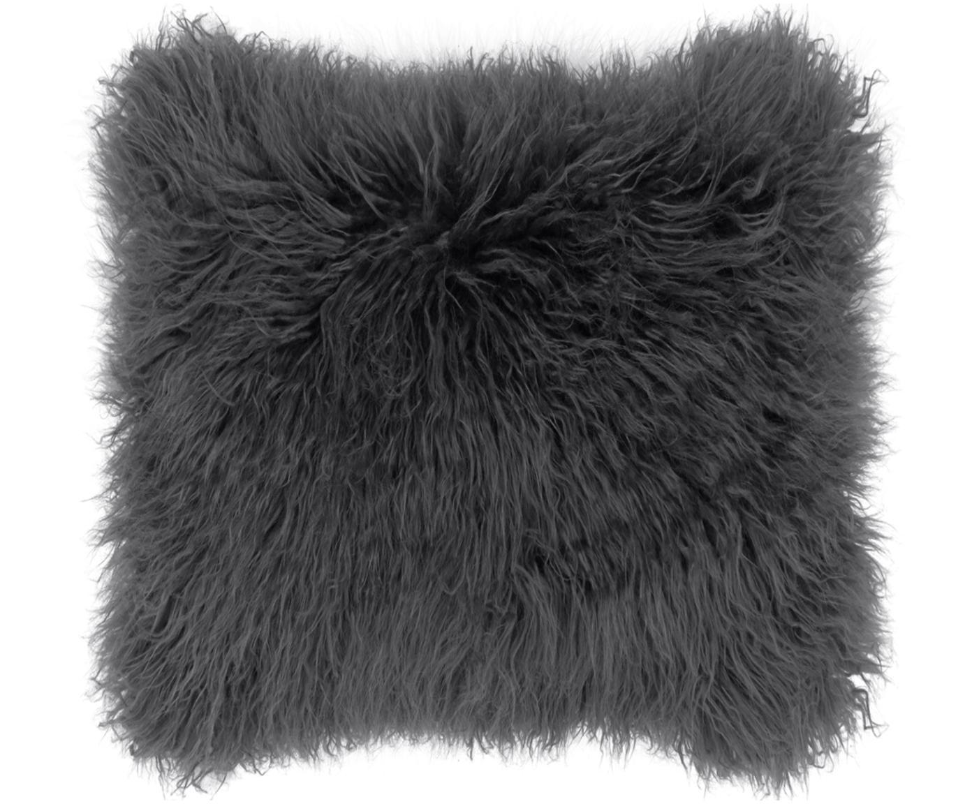 Poszewka na poduszkę ze sztucznego futra Morten, Ciemny szary, S 40 x D 40 cm