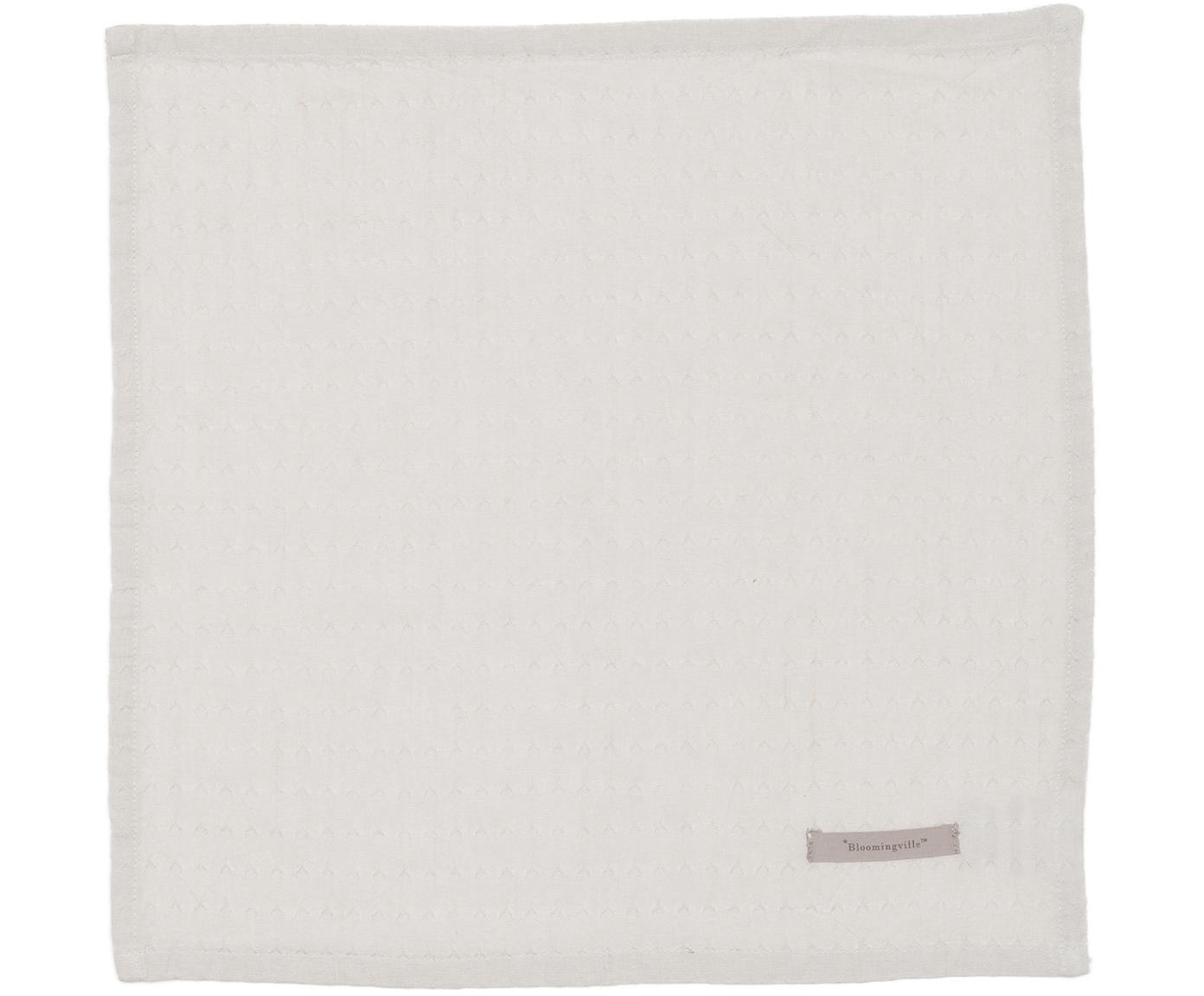Tovagliolo in cotone fine Blanc 4 pz, Cotone, Grigio pietra, Larg. 40 x Lung. 40 cm