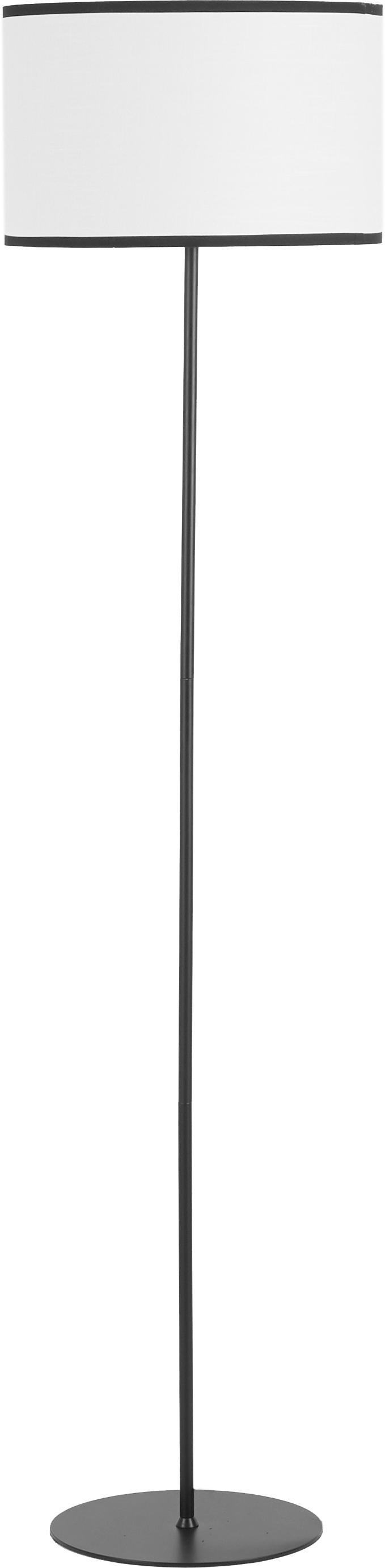 Vloerlamp Claudette van linnen, Lampenkap: gestructureerd linnen, Baldakijn: gepoedercoat metaal, Crèmekleurig, zwart, Ø 40 x H 165 cm
