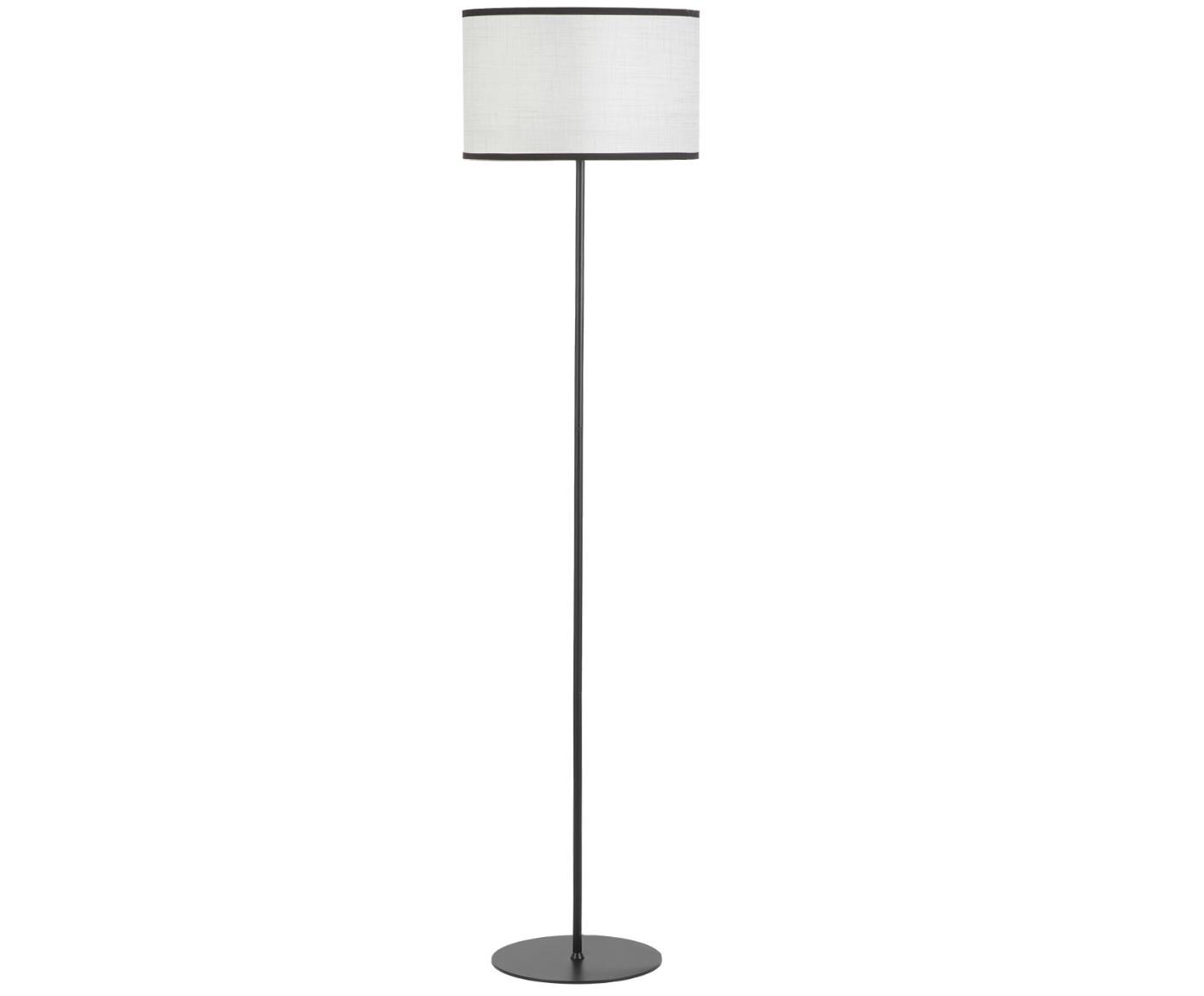 Stehlampe Claudette aus Leinen, Lampenschirm: Leinen, strukturiert, Baldachin: Metall, pulverbeschichtet, Creme, Schwarz, Ø 40 x H 165 cm