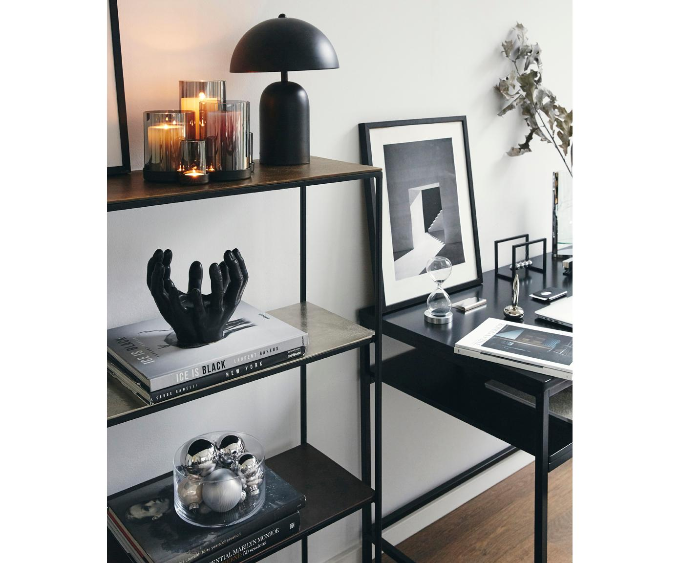 Libreria Melbourne, Struttura: metallo verniciato a polv, Ripiani: multicolore con finitura anticata lucida Struttura: nero opaco, Larg. 75 x Alt. 122 cm