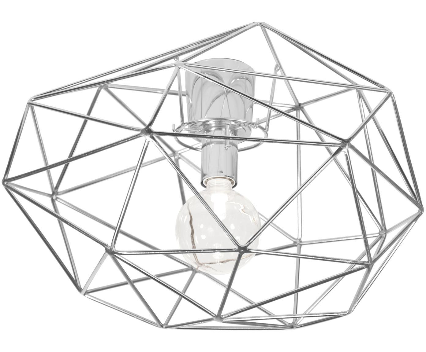 Plafoniera argentata Diamond, Ottone, cromato, Cromo, Ø 50 x Alt. 32 cm