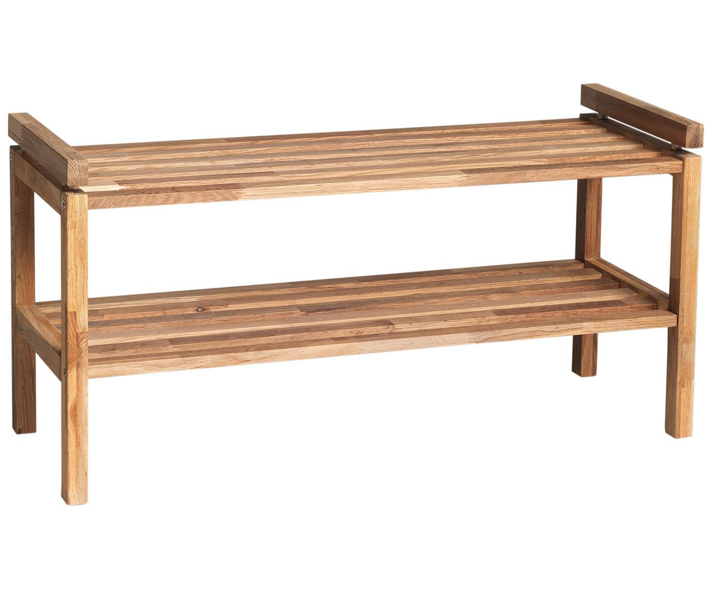 Półka na buty z drewna Confetti, Drewno dębowe, lakierowane, Brązowy, S 80 x W 40 cm
