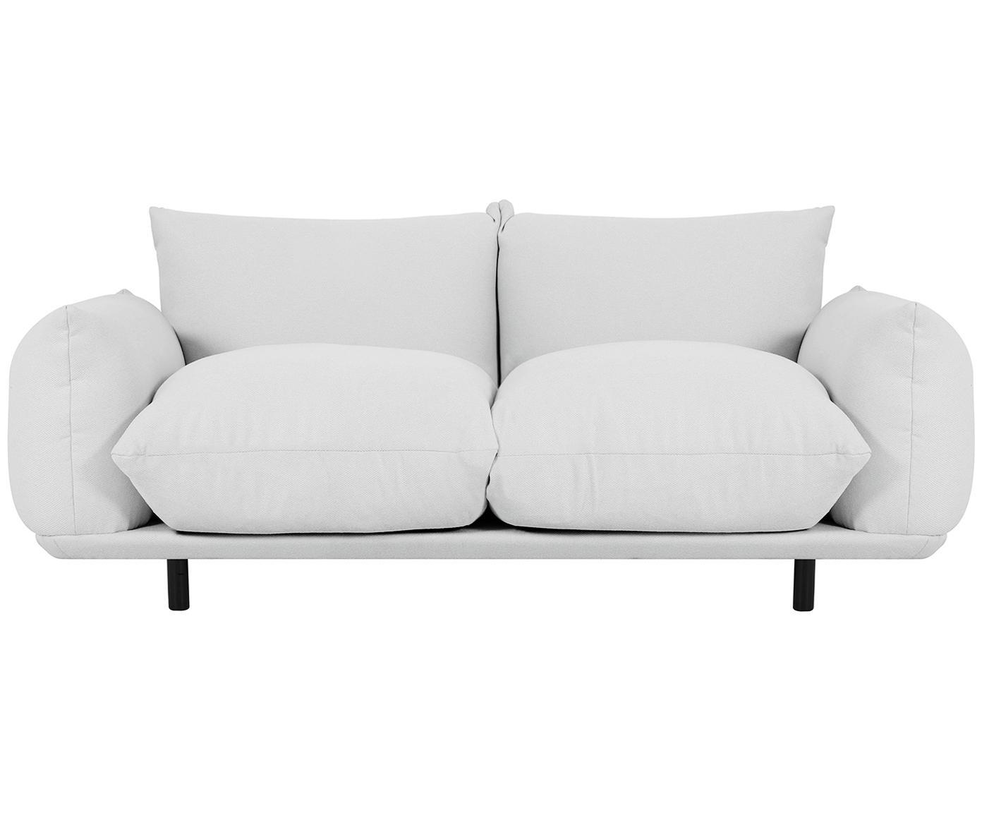 Sofa Saga (2-Sitzer), Bezug: 100% Polyester 35.000 Sch, Gestell: Massives Birkenholz, Füße: Metall, pulverbeschichtet, Webstoff Hellgrau, B 170 x T 103 cm