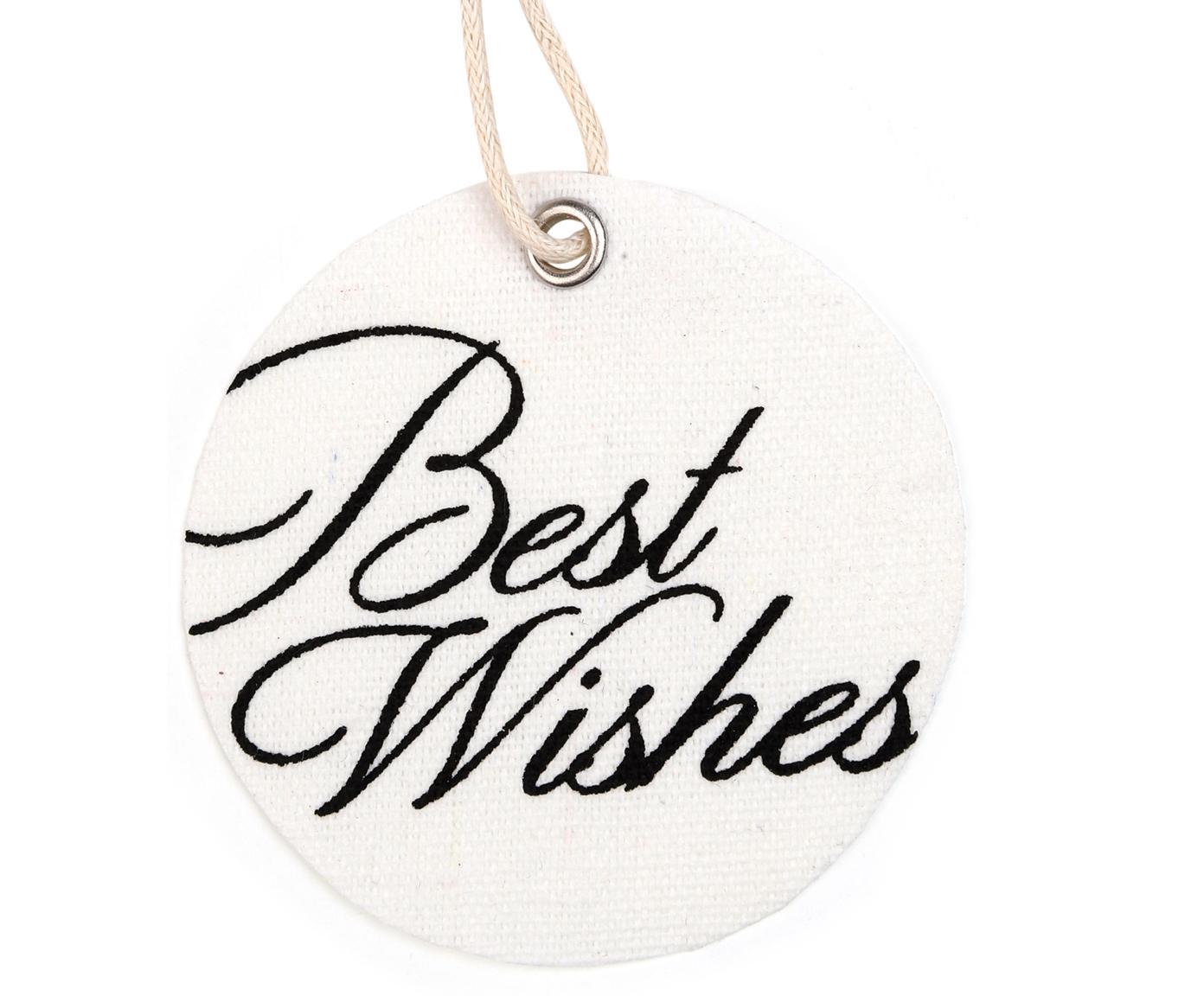 Geschenklabels set Best Wishes, 6 stuks, 60% katoen 40% polyester, Wit, zwart, Ø 6 cm