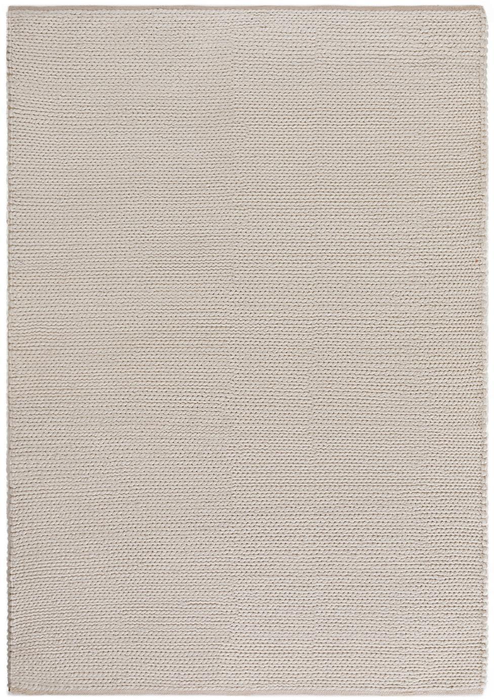 Handgewebter Wollteppich Uno in Creme, Flor: 60% Wolle, 40% Polyester, Creme, B 120 x L 170 cm (Größe S)