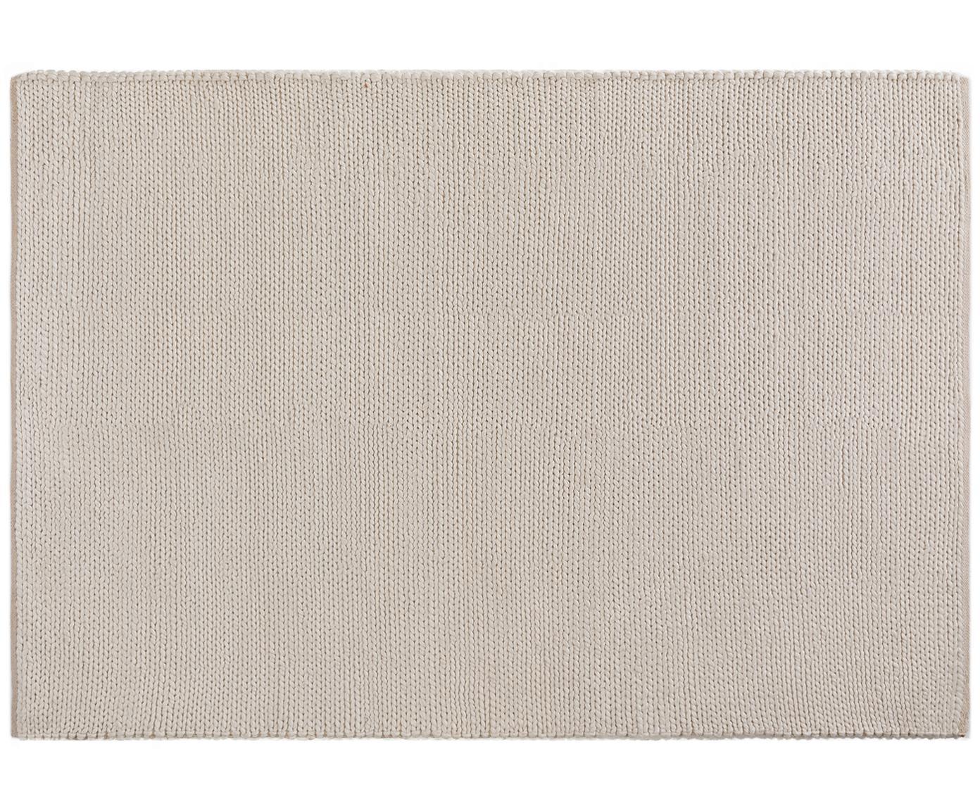 Handgeweven wollen vloerkleed Uno, Bovenzijde: 60% wol, 40% polyester, Onderzijde: katoen, Crèmekleurig, B 120 x L 170 cm (maat S)