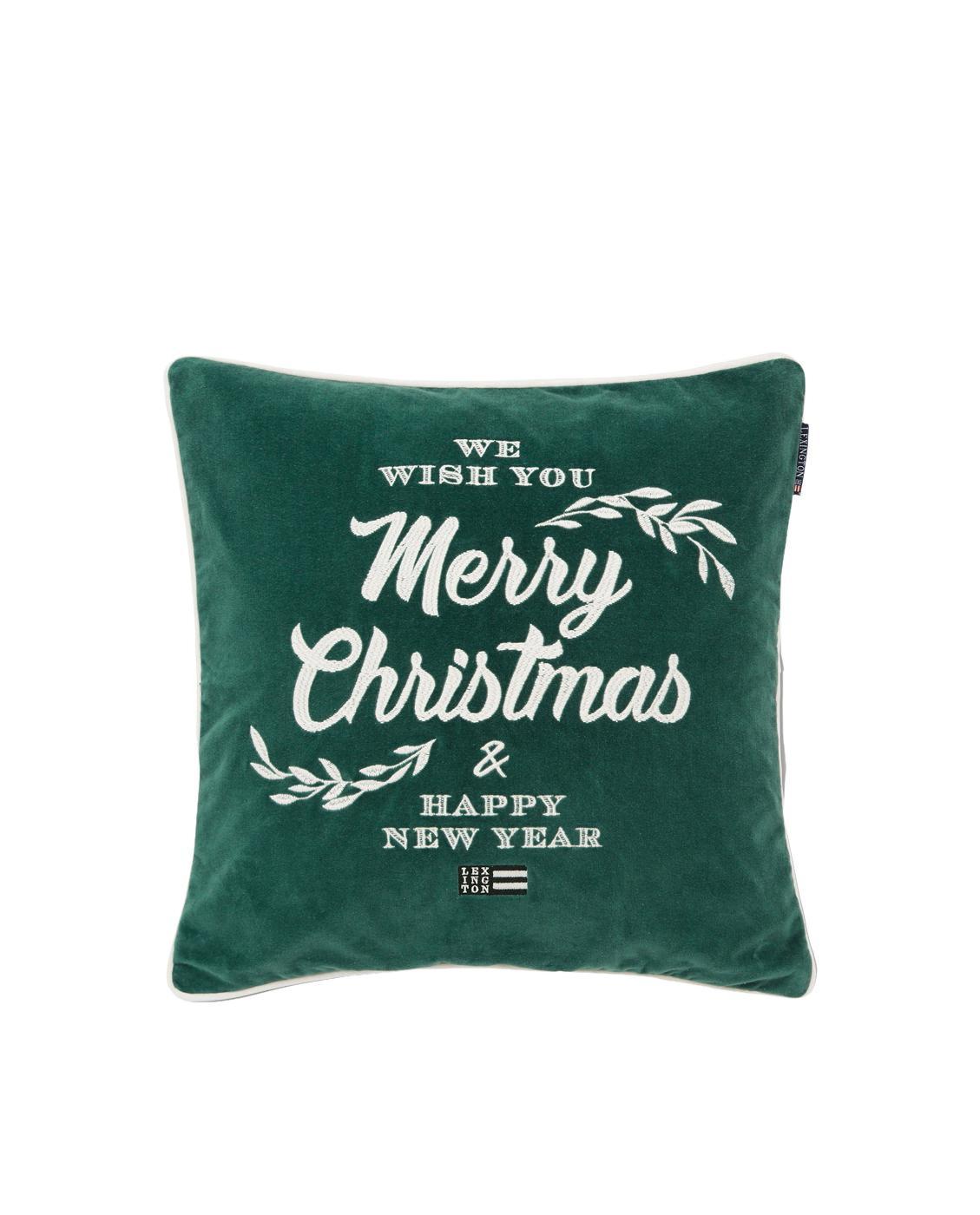 Samt-Kissenhülle Merry Christmas mit Aufschrift, Baumwollsamt, Weiss, Grün, 50 x 50 cm