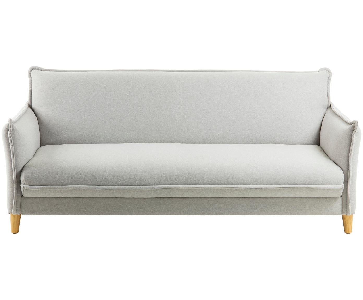 Schlafsofa Alizee (3-Sitzer), Bezug: Polyester 45.000 Scheuert, Füße: Buchenholz, massiv, natur, Webstoff Hellgrau, B 207 x T 93 cm