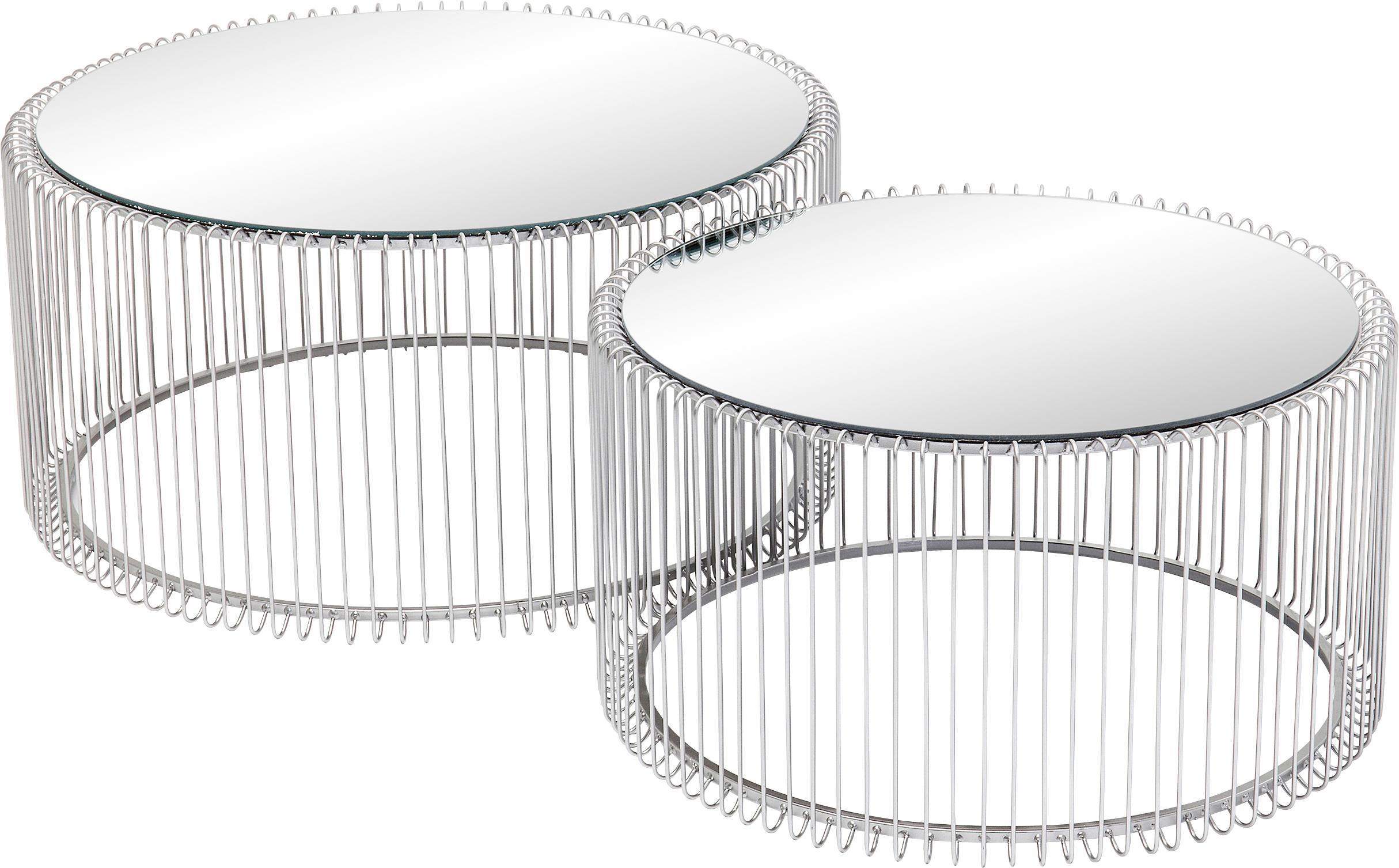 Set 2 tavolini da salotto in metallo Wire, Piano d'appoggio: vetro specchiato, Struttura: metallo verniciato a polv, Cromo, Diverse dimensioni