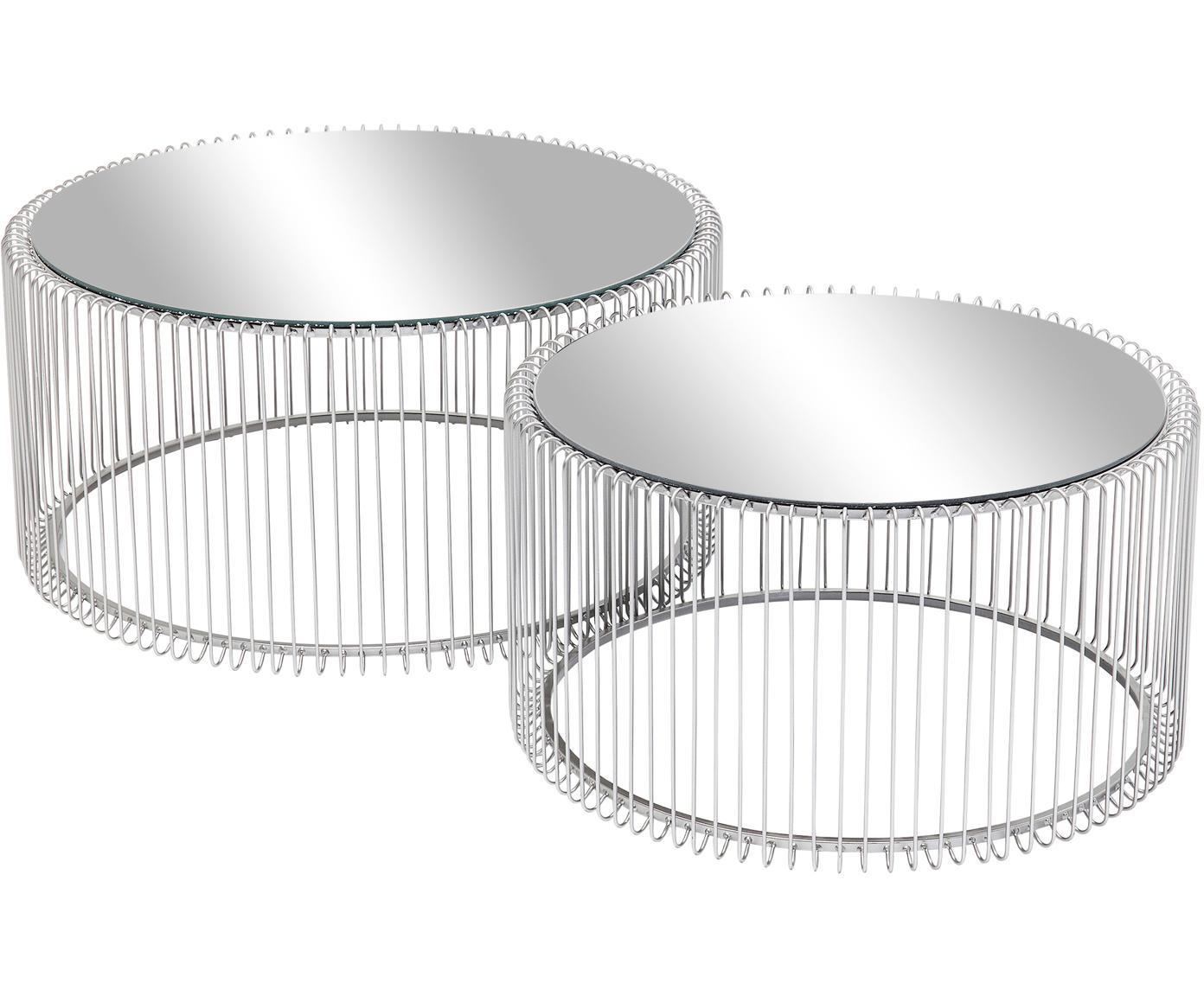 Komplet stolików kawowych z metalu ze szklanym blatem Wire, 2 elem., Stelaż: metal malowany proszkowo, Blat: szkło hartowane, foliowan, Chrom, Różne rozmiary